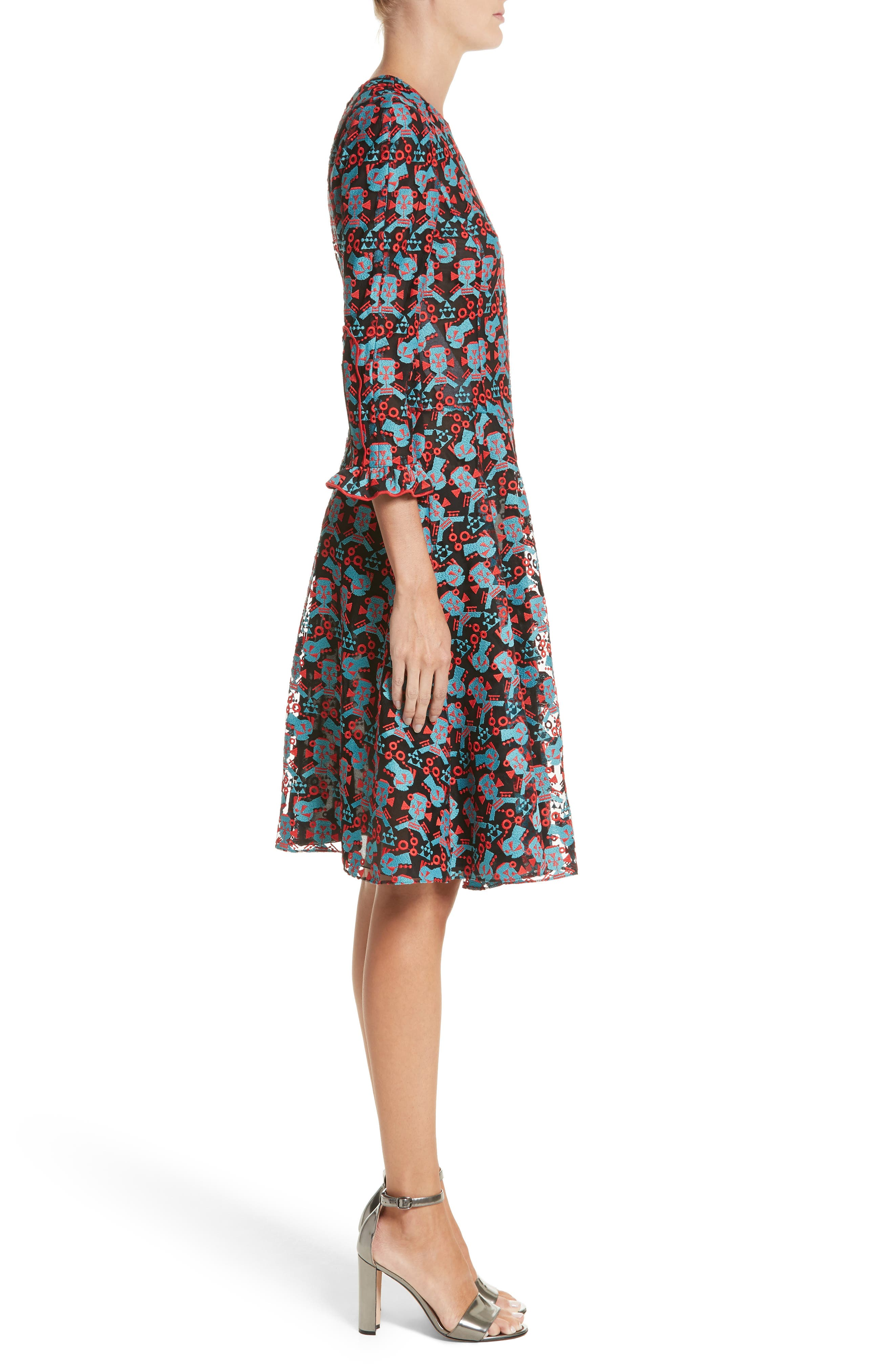 Embroidered Fit & Flare Dress,                             Alternate thumbnail 3, color,                             606