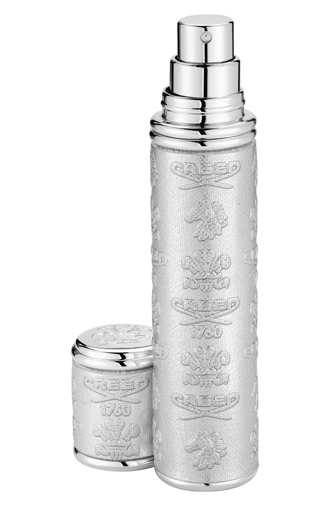 Silver Leather with Silver Trim Pocket Atomizer,                         Main,                         color, NO COLOR