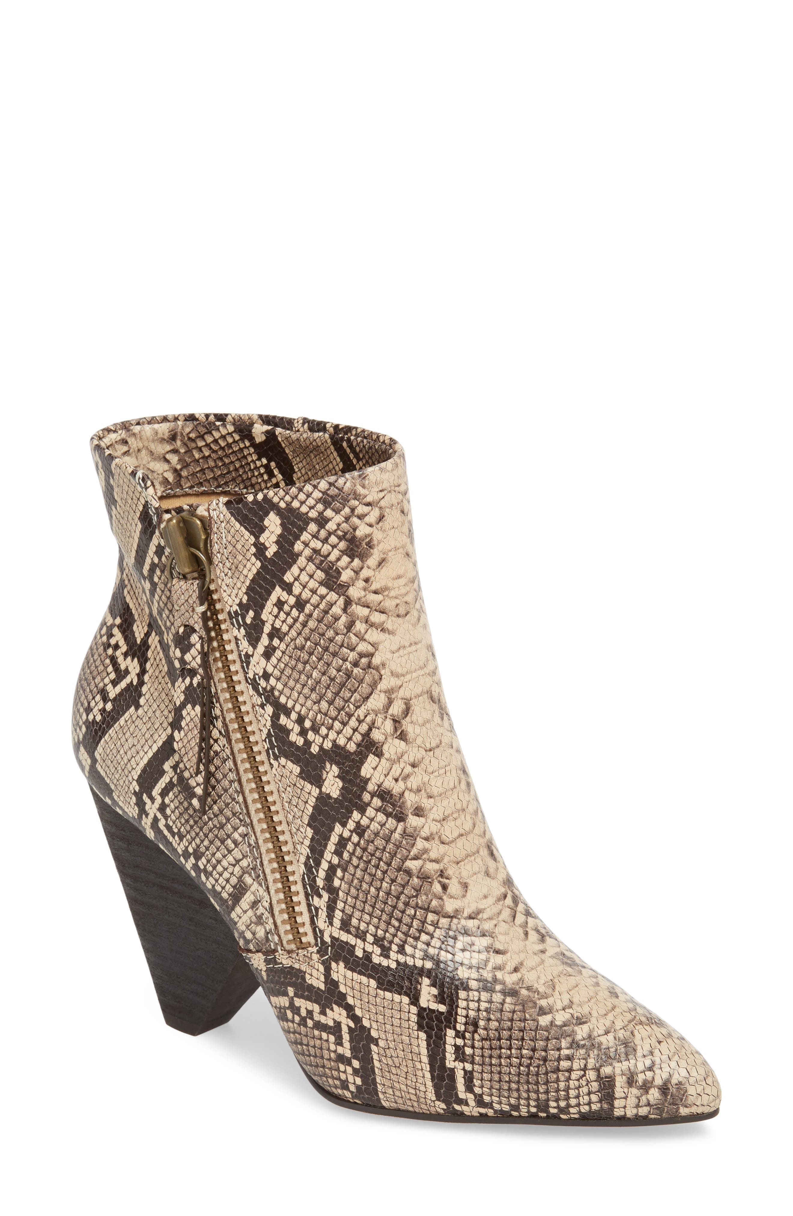 Neva II Bootie,                             Main thumbnail 1, color,                             NATURAL EMBOSSED SNAKE LEATHER