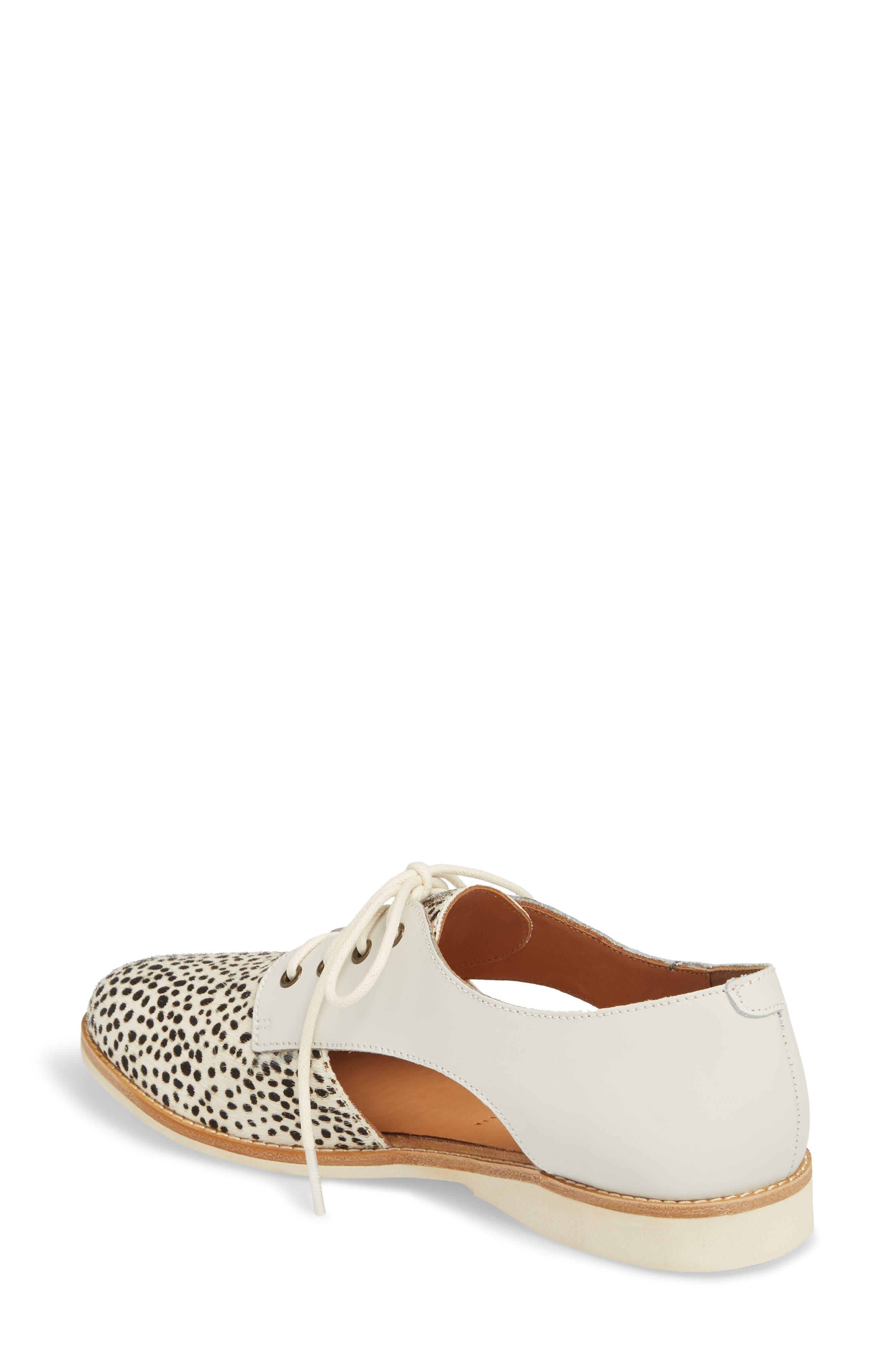 ROLLIE,                             Side Cut Derby,                             Alternate thumbnail 2, color,                             SNOW LEOPARD/ WHITE LEATHER