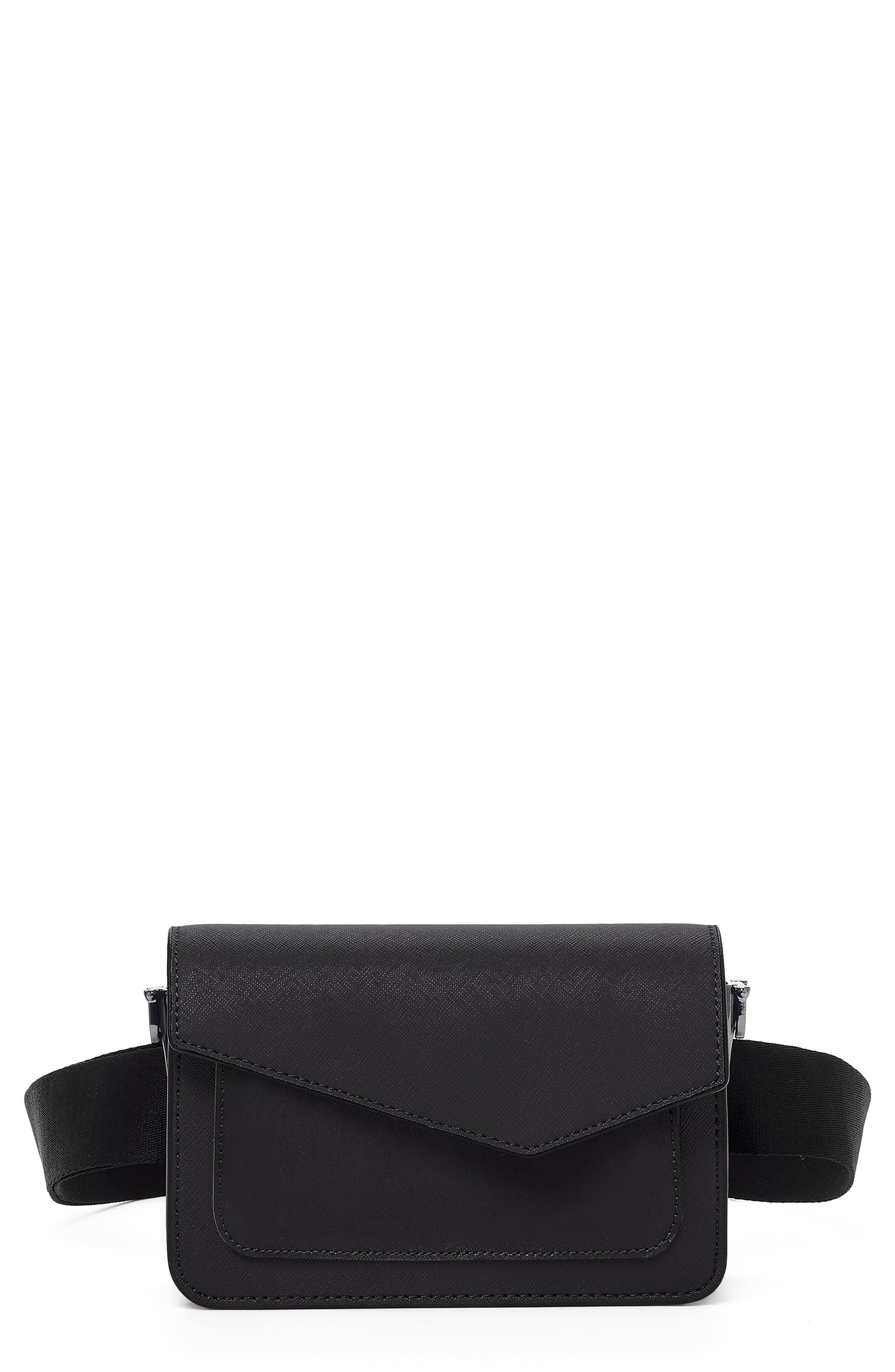 Cobble Hill Leather Convertible Belt Bag,                         Main,                         color, BLACK