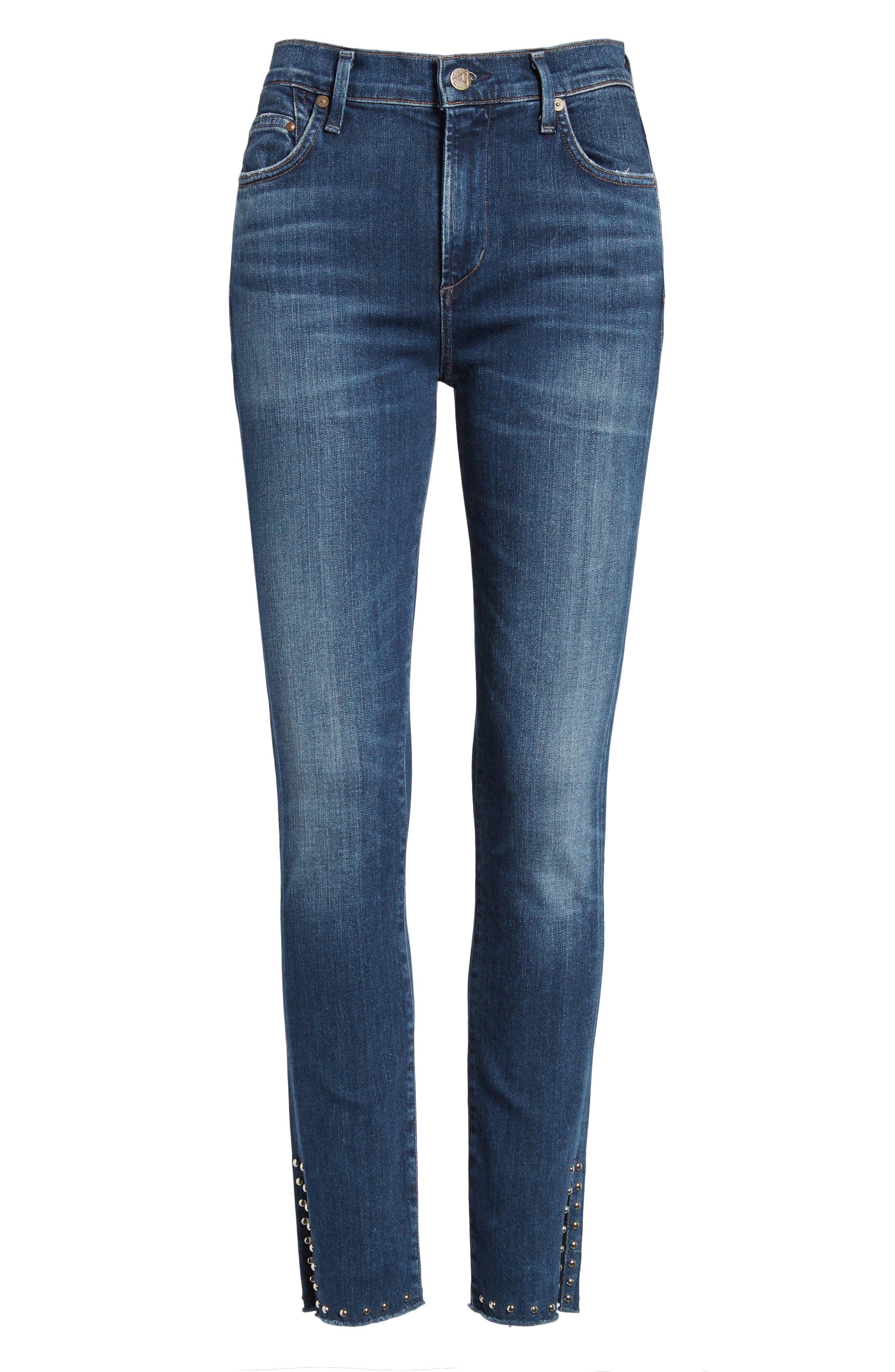 Rocket Split Hem Ankle Skinny Jeans,                             Alternate thumbnail 6, color,                             402