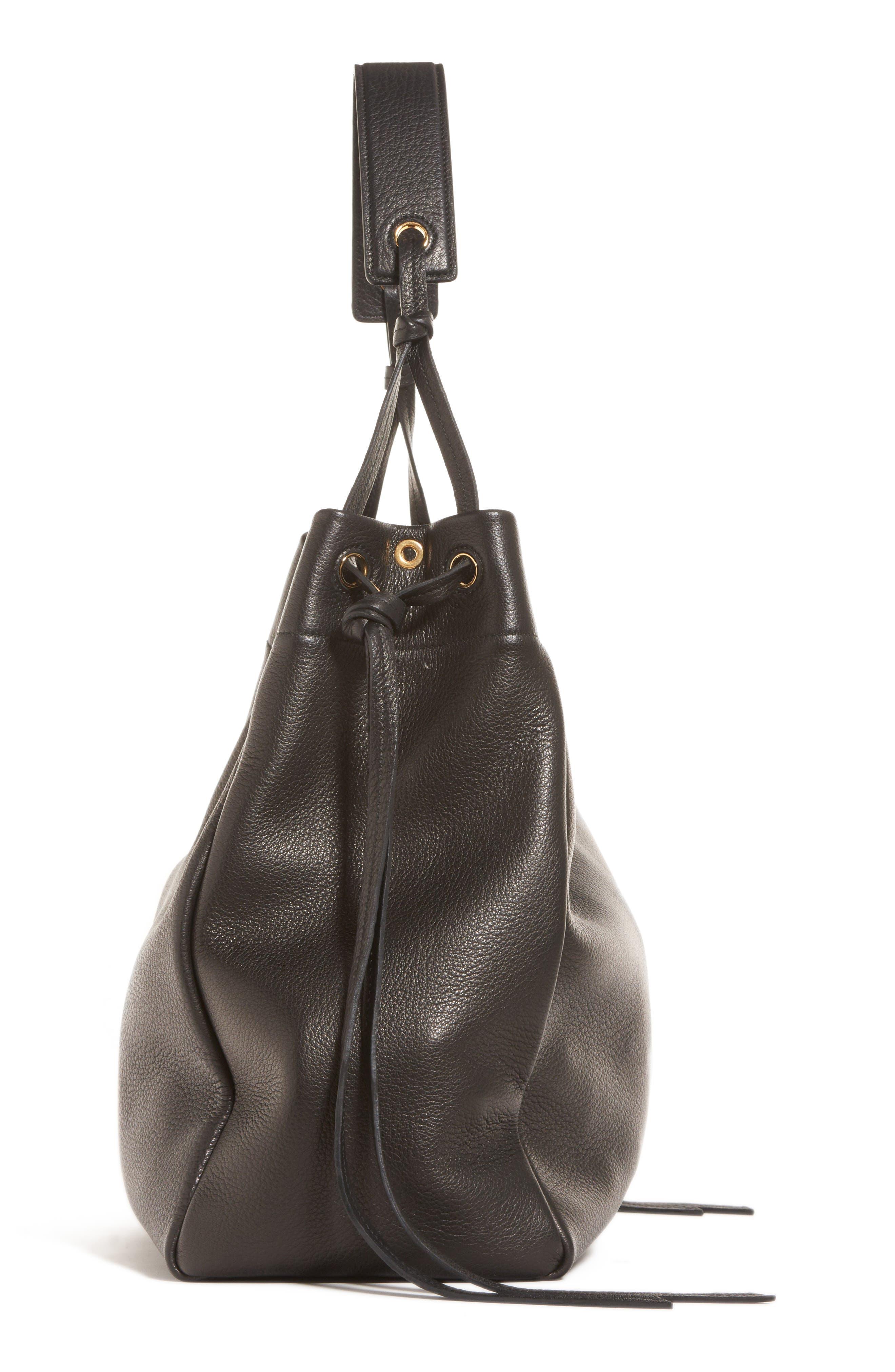 PRADA,                             Large Deerskin Leather Hobo,                             Alternate thumbnail 4, color,                             001