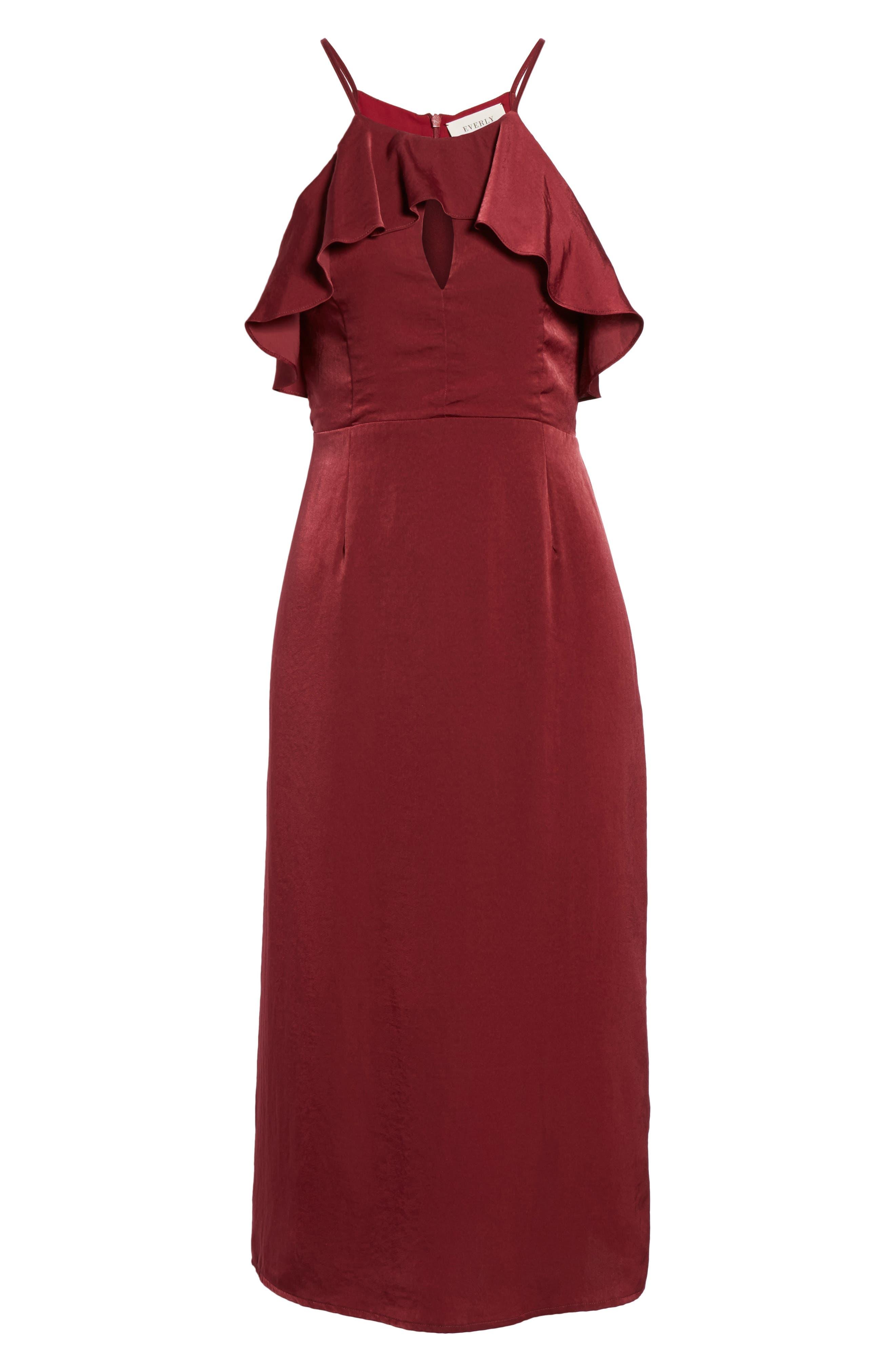 Ruffle Neck Satin Midi Dress,                             Alternate thumbnail 12, color,