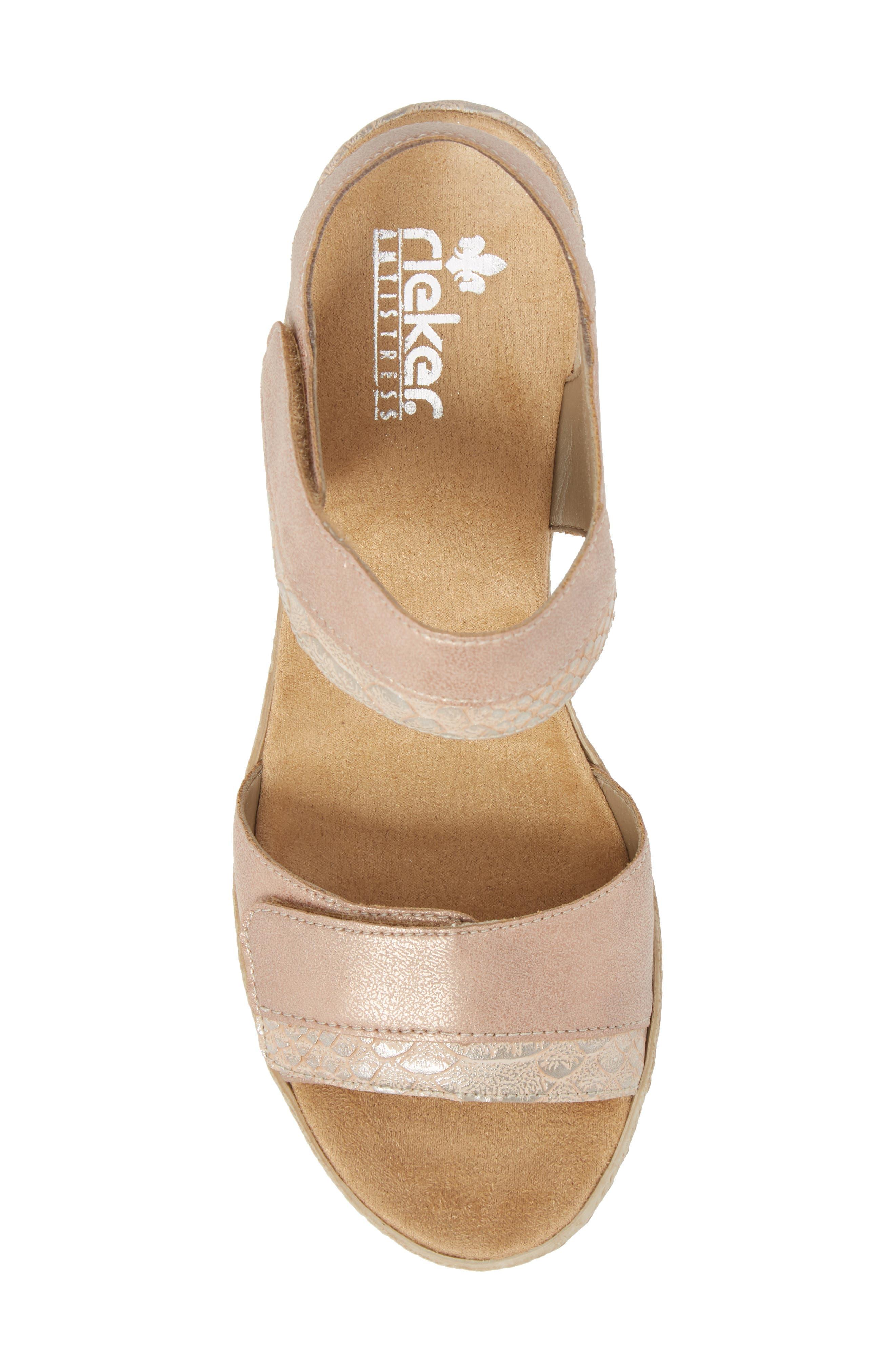 RIEKER ANTISTRESS,                             Fanni 70 Wedge Sandal,                             Alternate thumbnail 5, color,                             ROSE/ GINGER