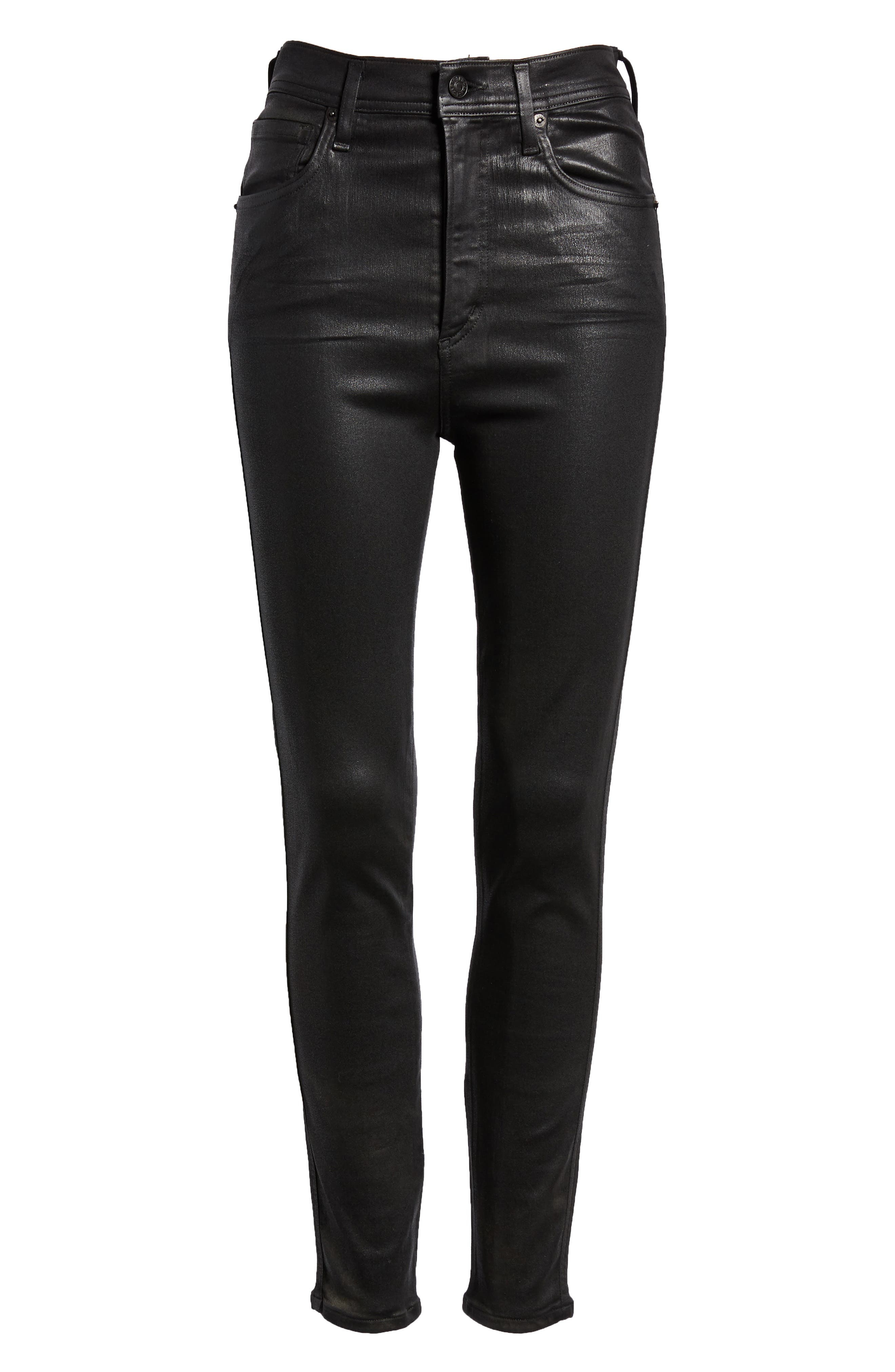 Roxanne Faux Leather High Waist Ankle Skinny Pants,                             Alternate thumbnail 6, color,                             007