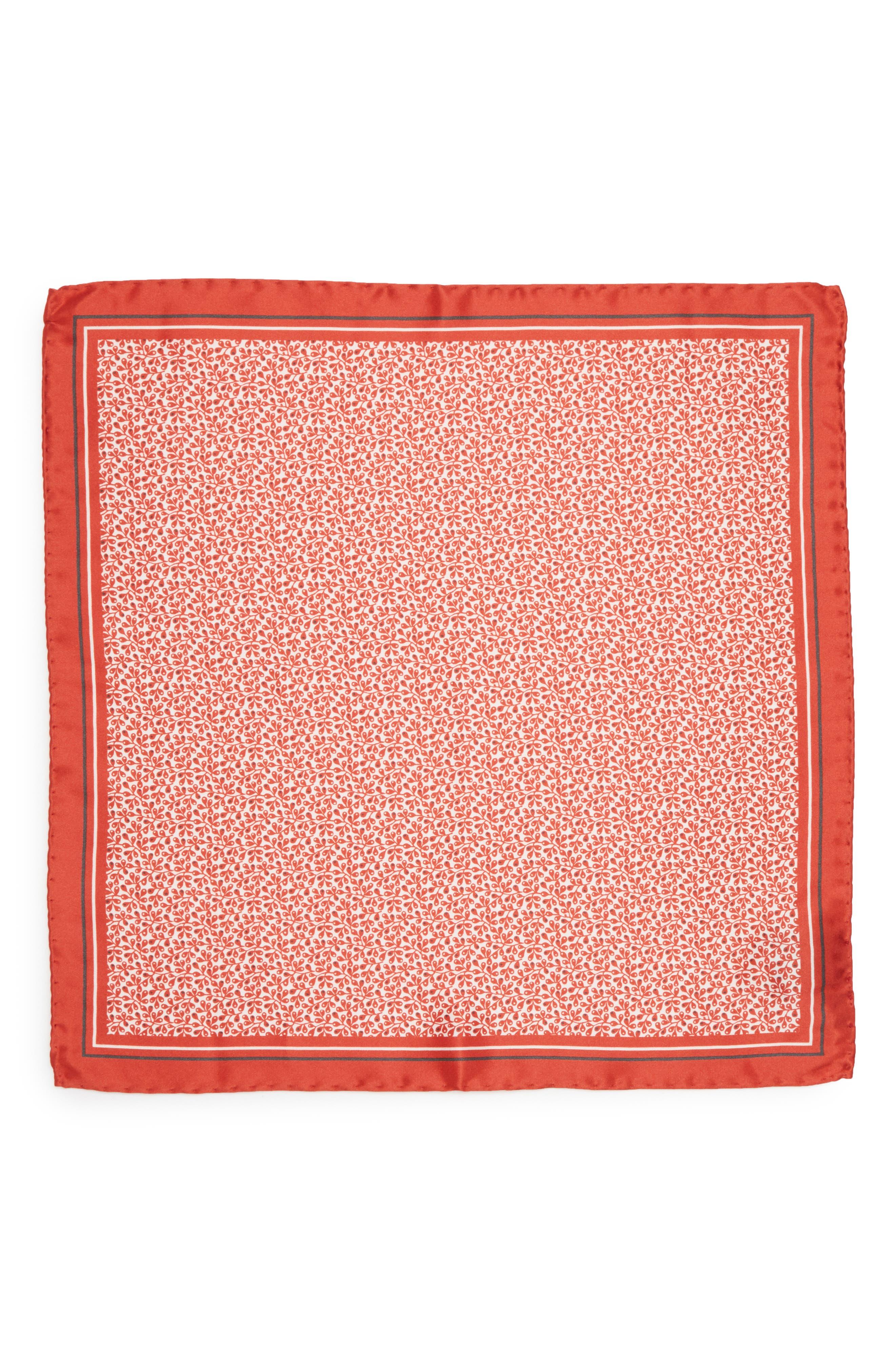 Floral Silk Pocket Square,                             Alternate thumbnail 4, color,