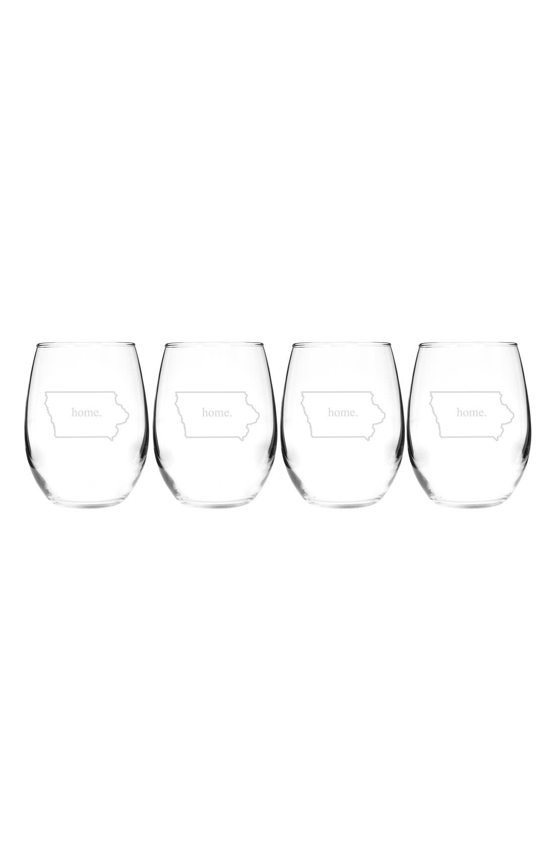 Home State Set of 4 Stemless Wine Glasses,                             Main thumbnail 13, color,