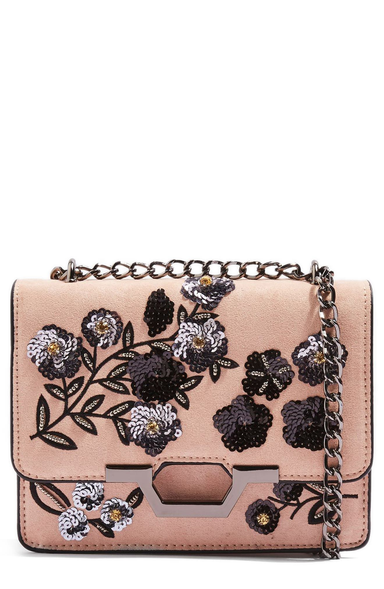 Kylie Embellished Faux Suede Crossbody Bag,                             Main thumbnail 2, color,