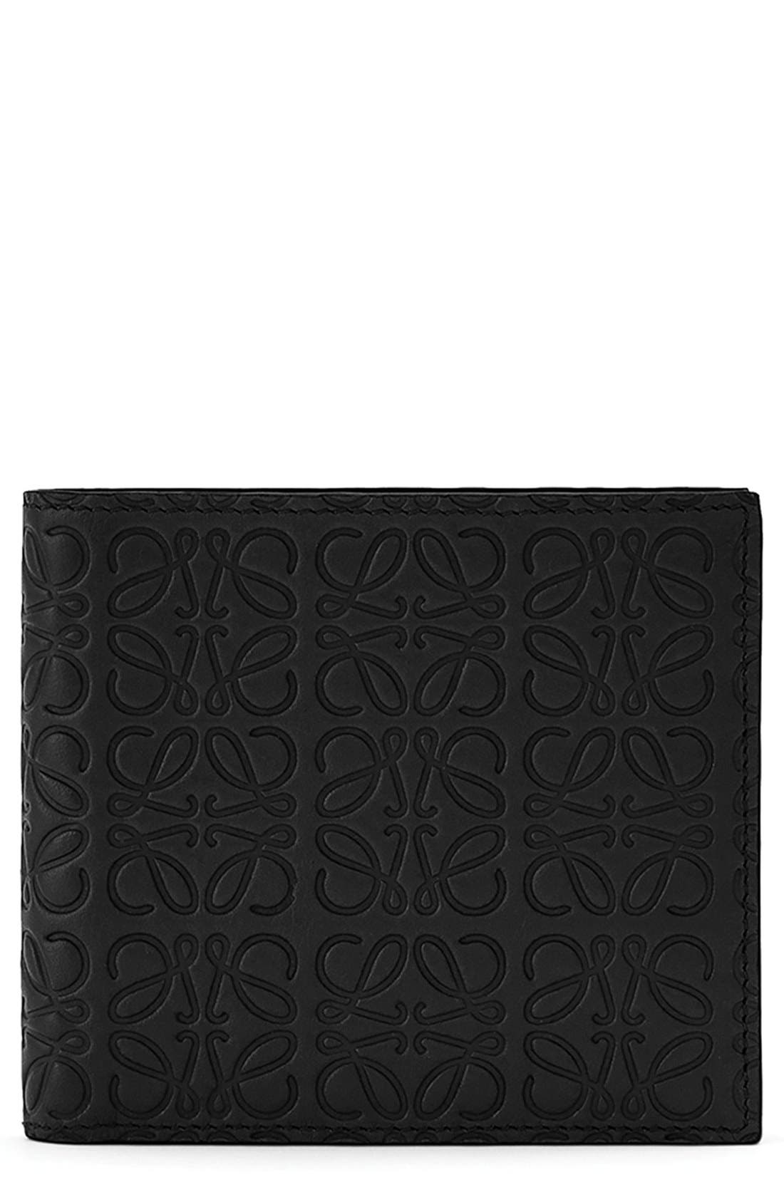 Logo Embossed Calfskin Leather Bifold Wallet,                             Main thumbnail 1, color,                             BLACK