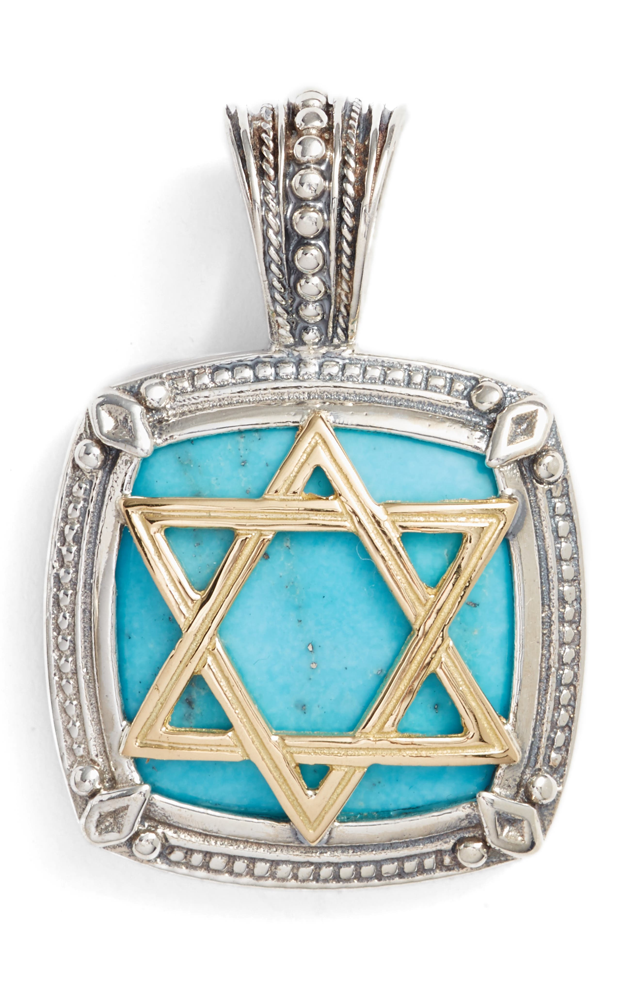 Heonos Star of David Turquoise Pendant,                             Main thumbnail 1, color,                             SILVER/ GOLD/ TURQUOISE
