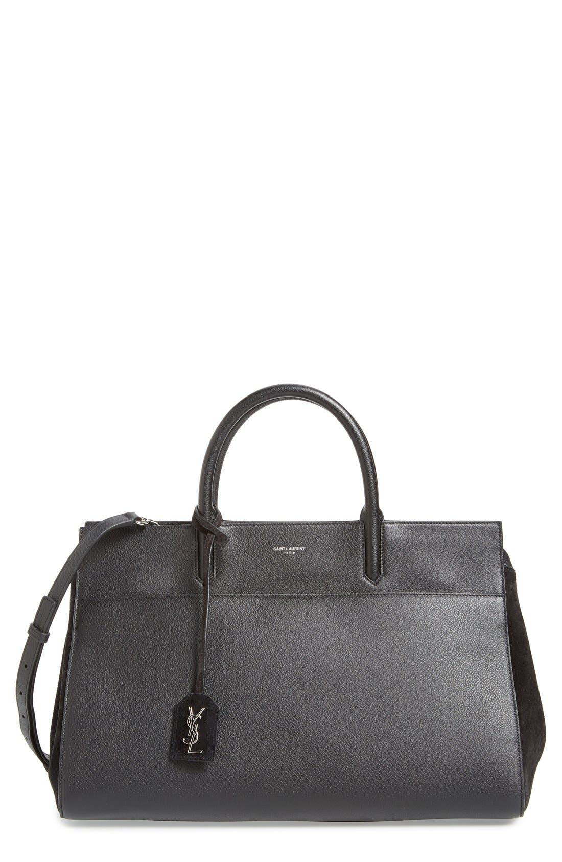 'Medium Rive Gauche' Grained Leather Satchel,                         Main,                         color, NERO