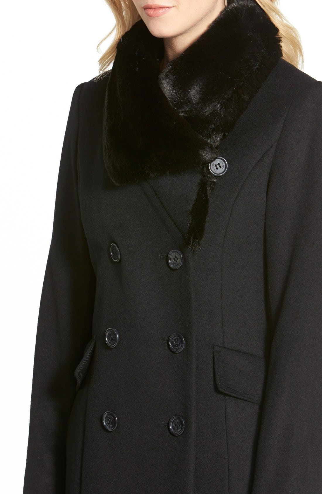 Long Wool Blend Coat with Faux Fur Collar,                             Alternate thumbnail 5, color,                             001