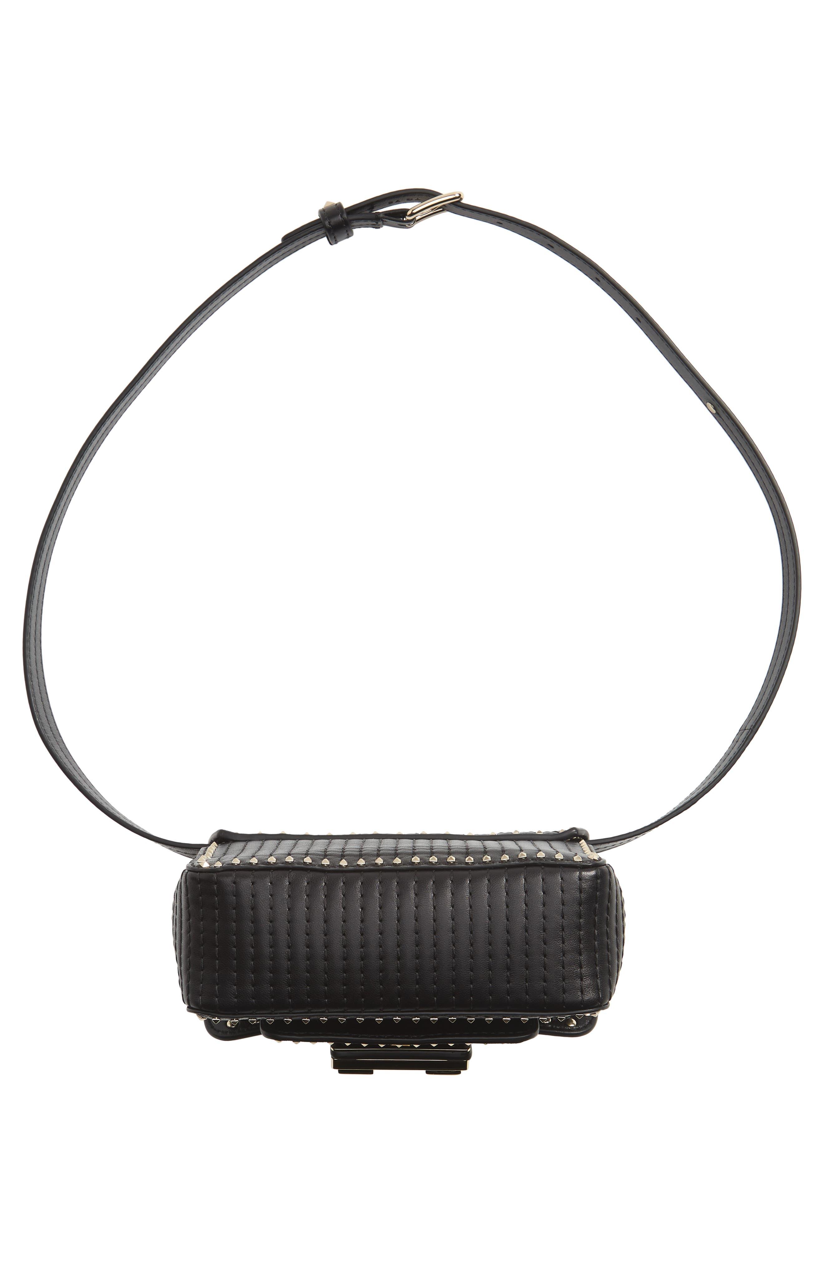 Mini Ziggystud Leather Convertible Crossbody/Belt Bag,                             Alternate thumbnail 8, color,                             001