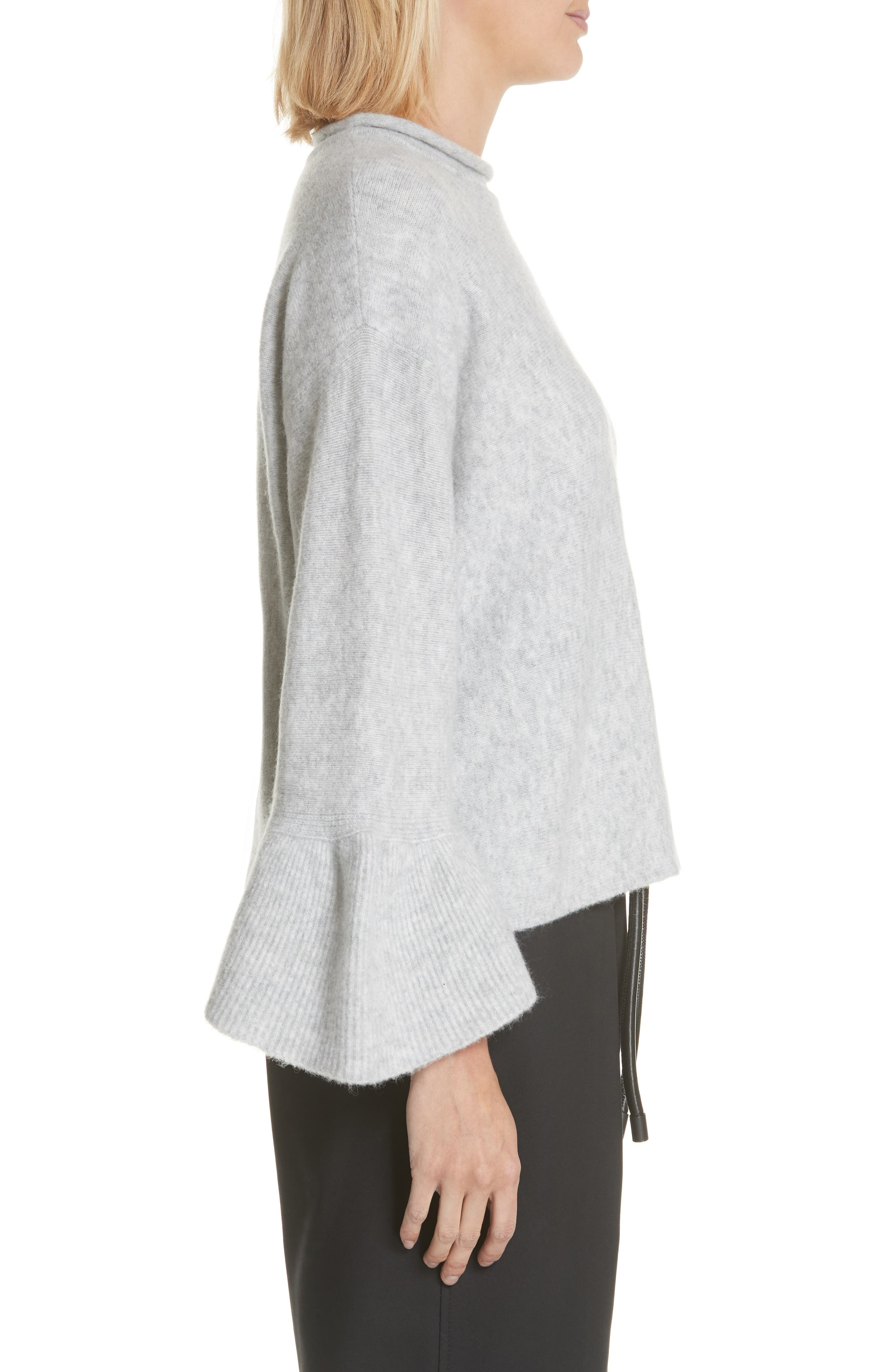 Ruffle Cuff Wool Blend Pullover,                             Alternate thumbnail 3, color,                             034