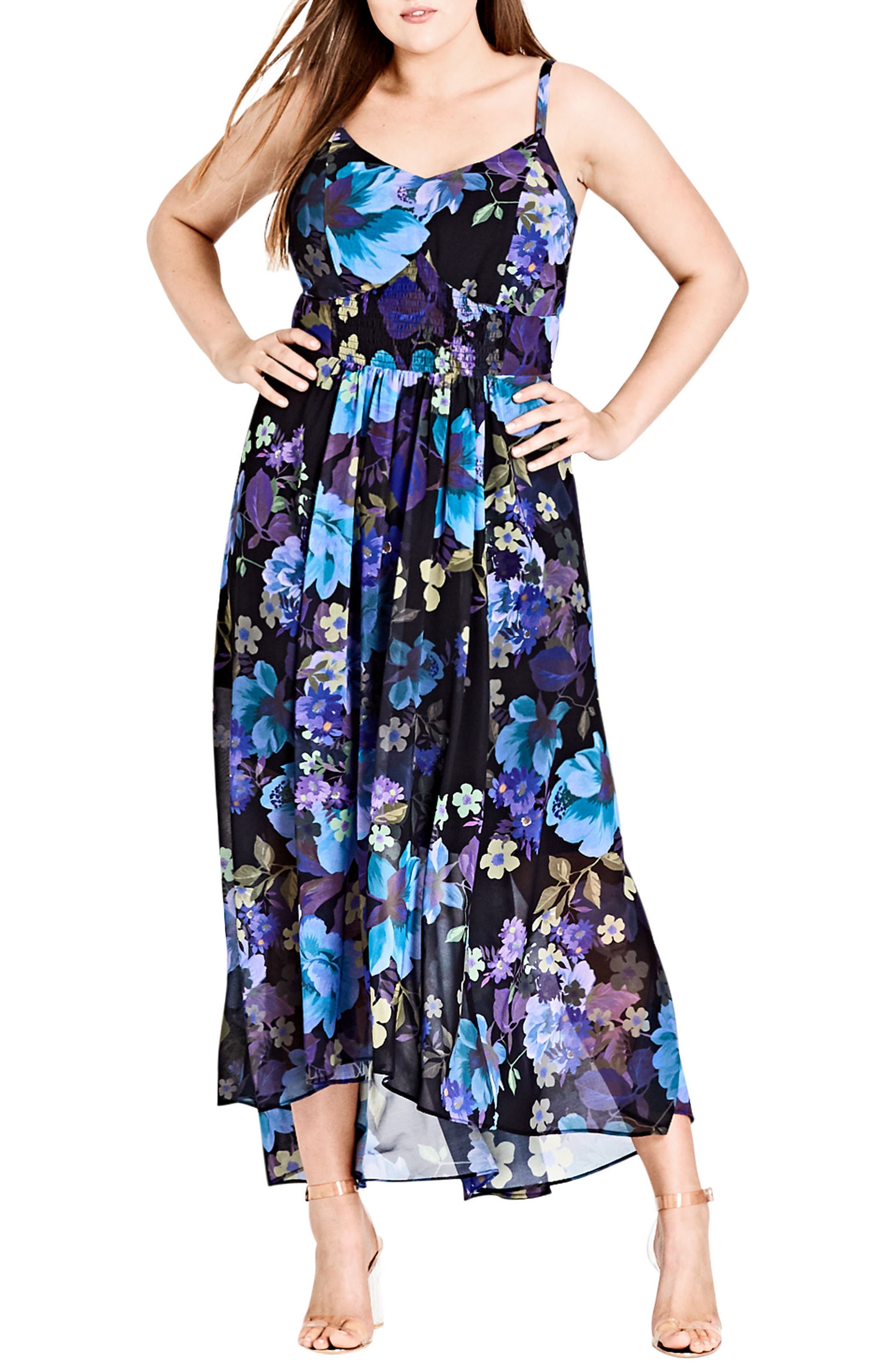 Chic City Falling Floral Maxi Dress,                         Main,                         color, 415