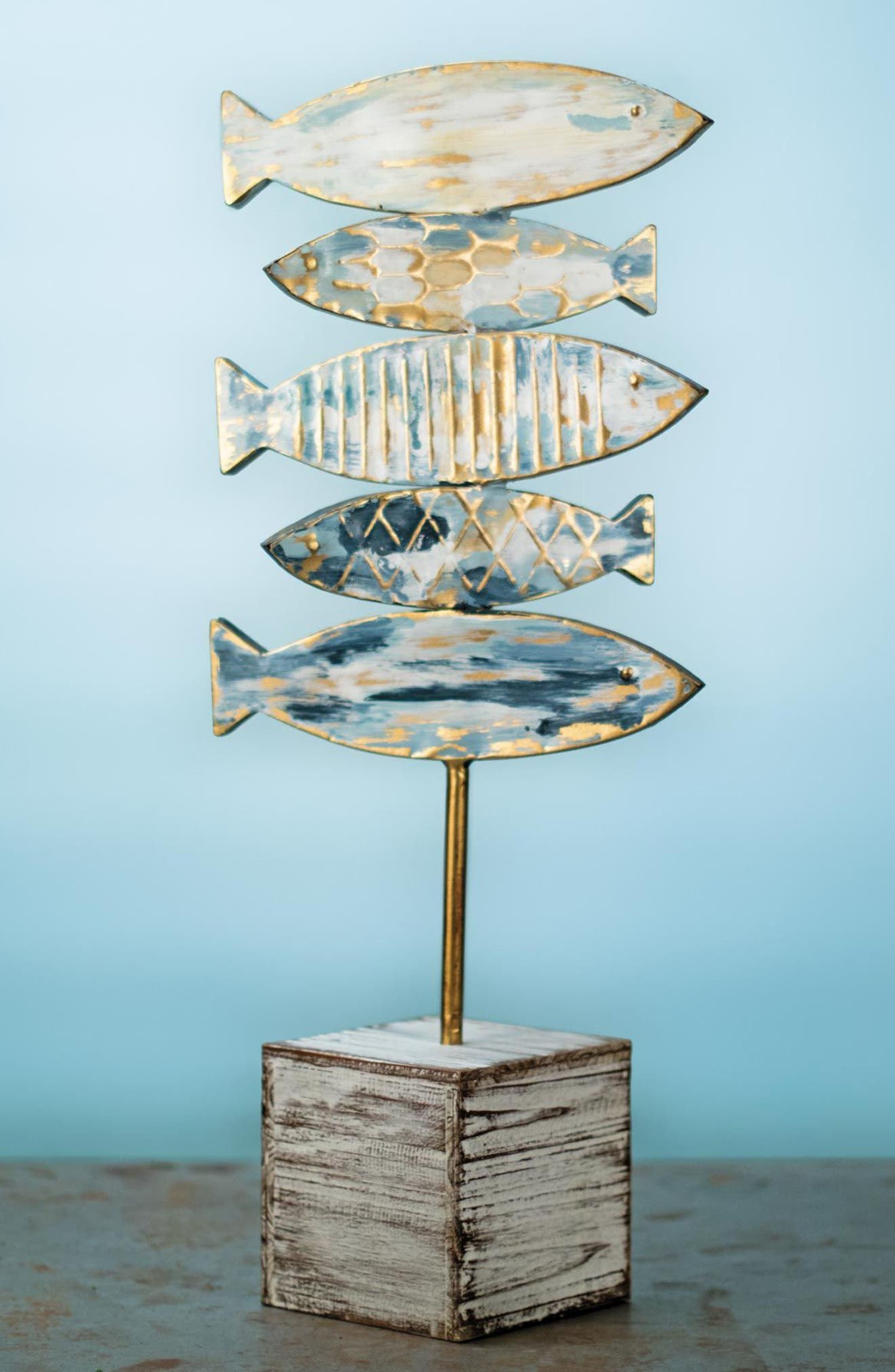 Fish Table Art,                             Alternate thumbnail 2, color,                             WOOD/ METAL