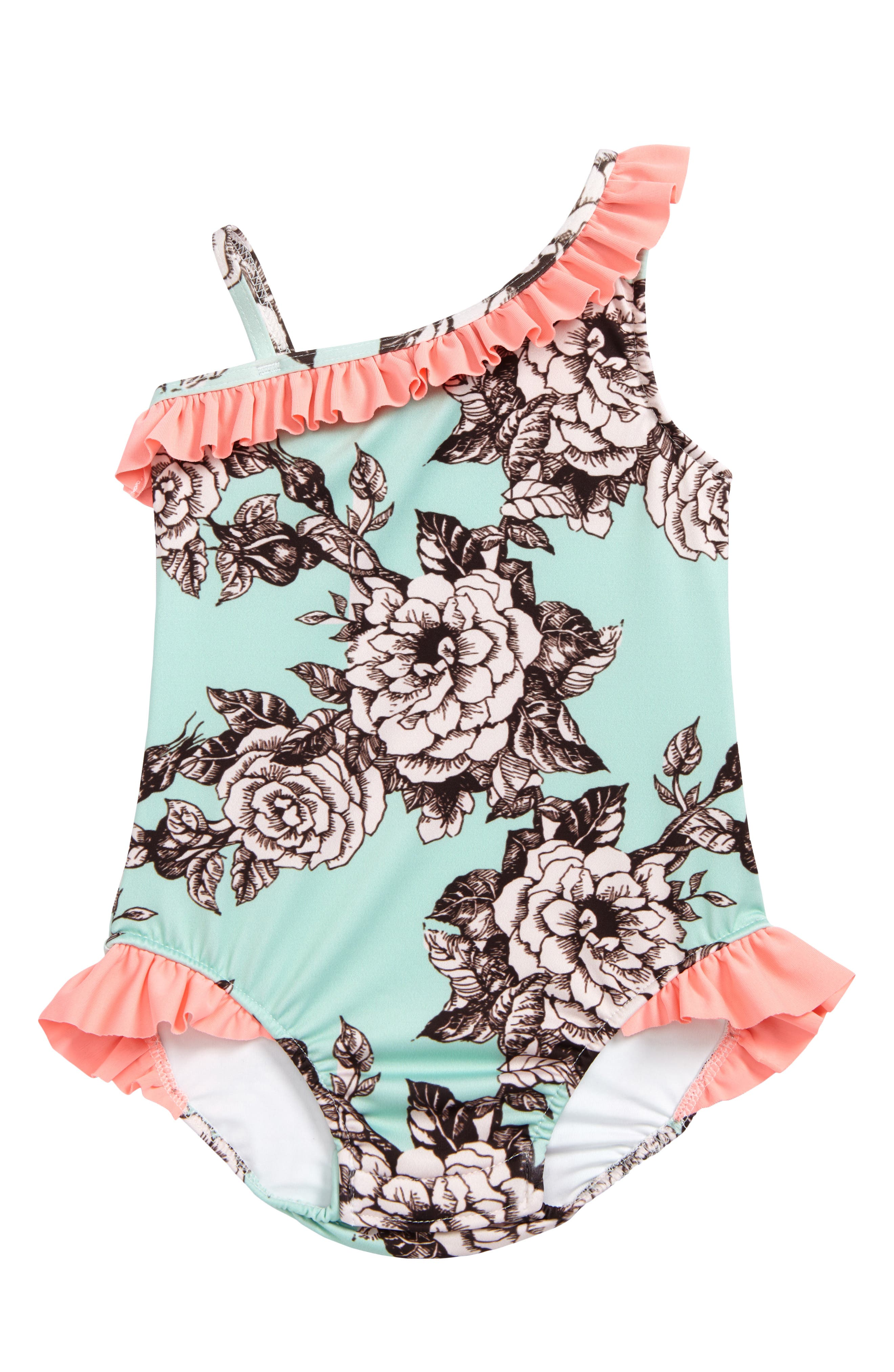 Asymmetrical Ruffle One-Piece Swimsuit,                             Main thumbnail 4, color,