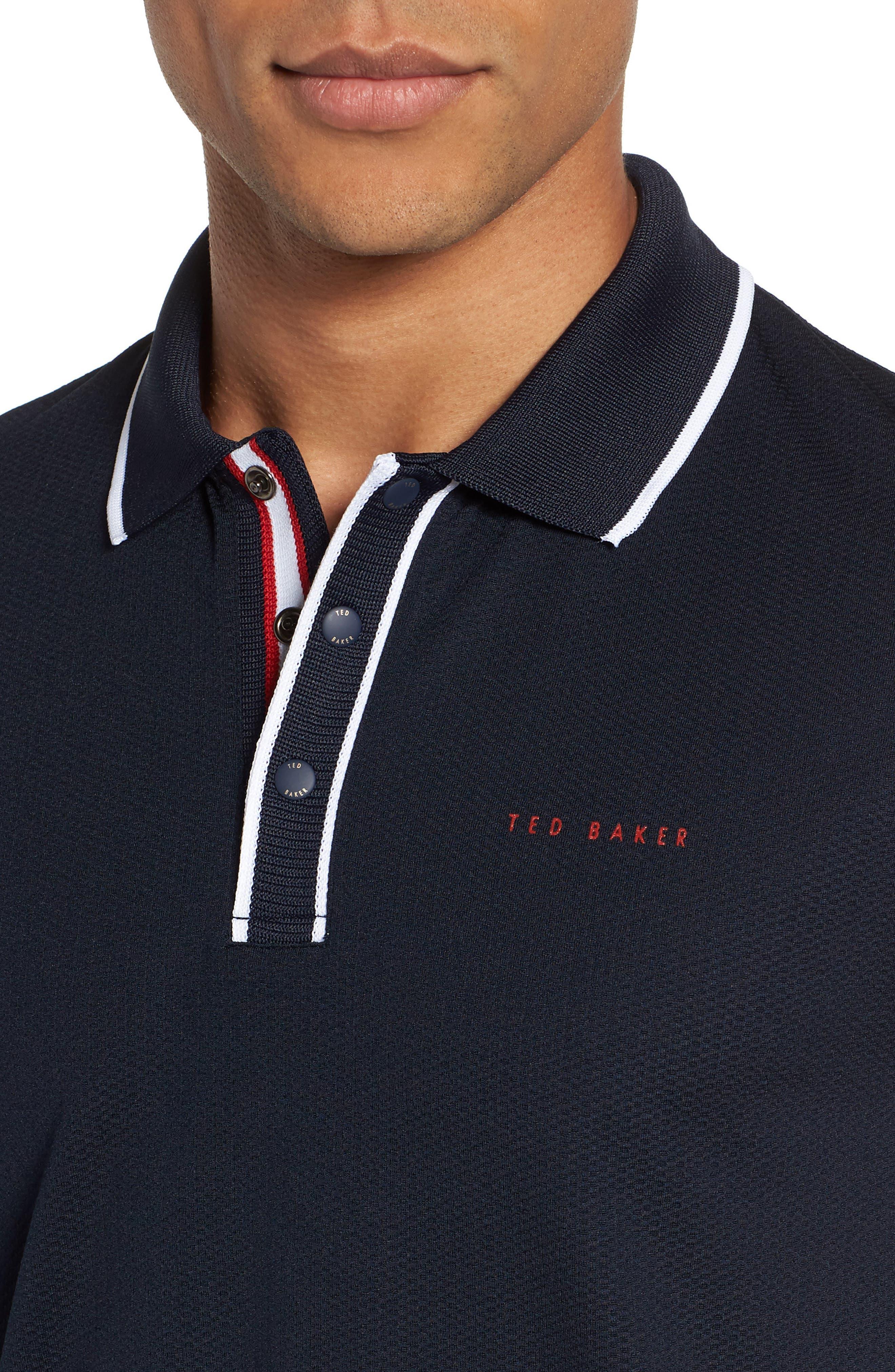 Bunka Trim Fit Golf Polo,                             Alternate thumbnail 4, color,                             NAVY