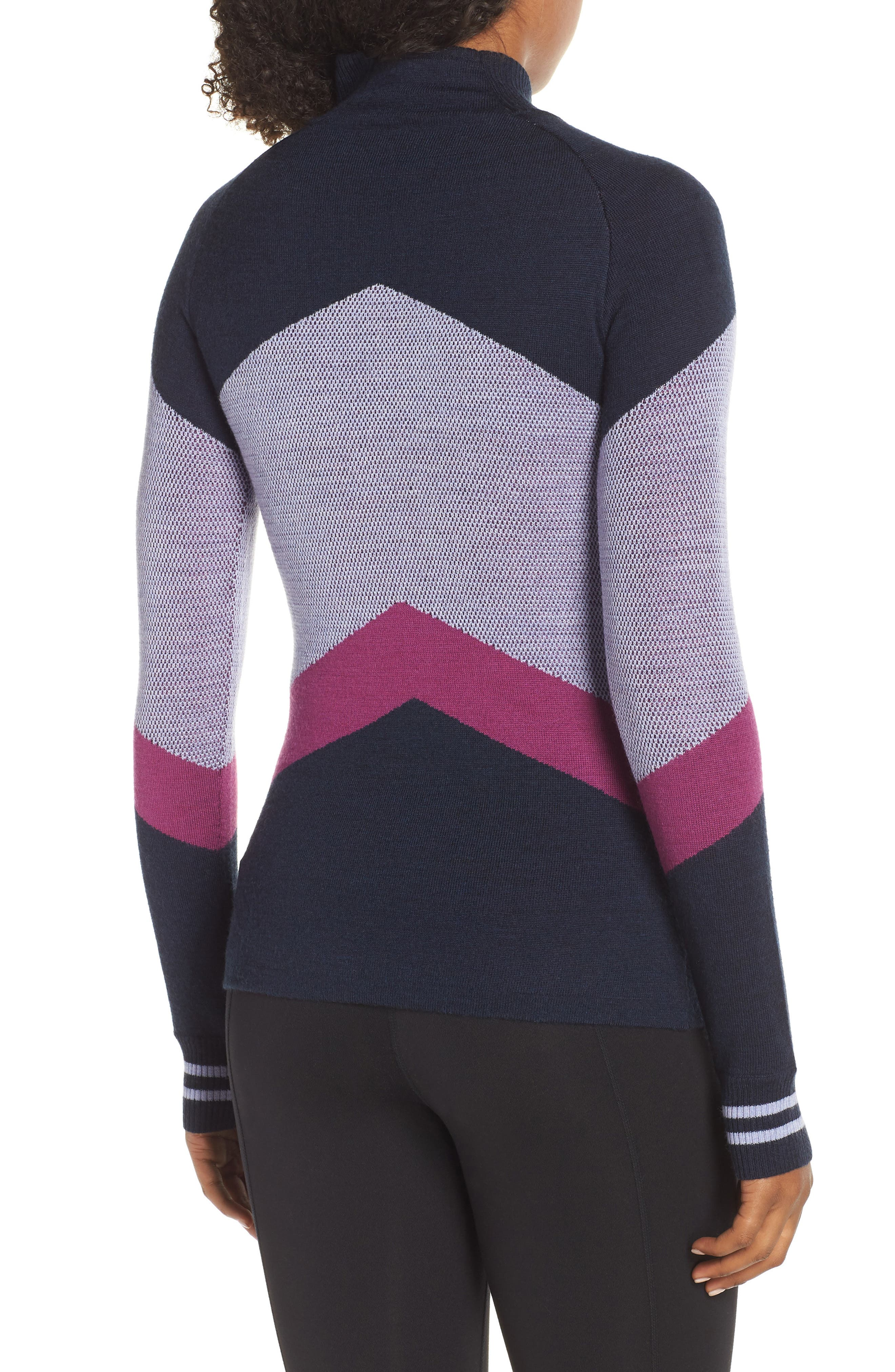 Ski Funnel Neck Sweater,                             Alternate thumbnail 2, color,                             DEEP NAVY HEATHER