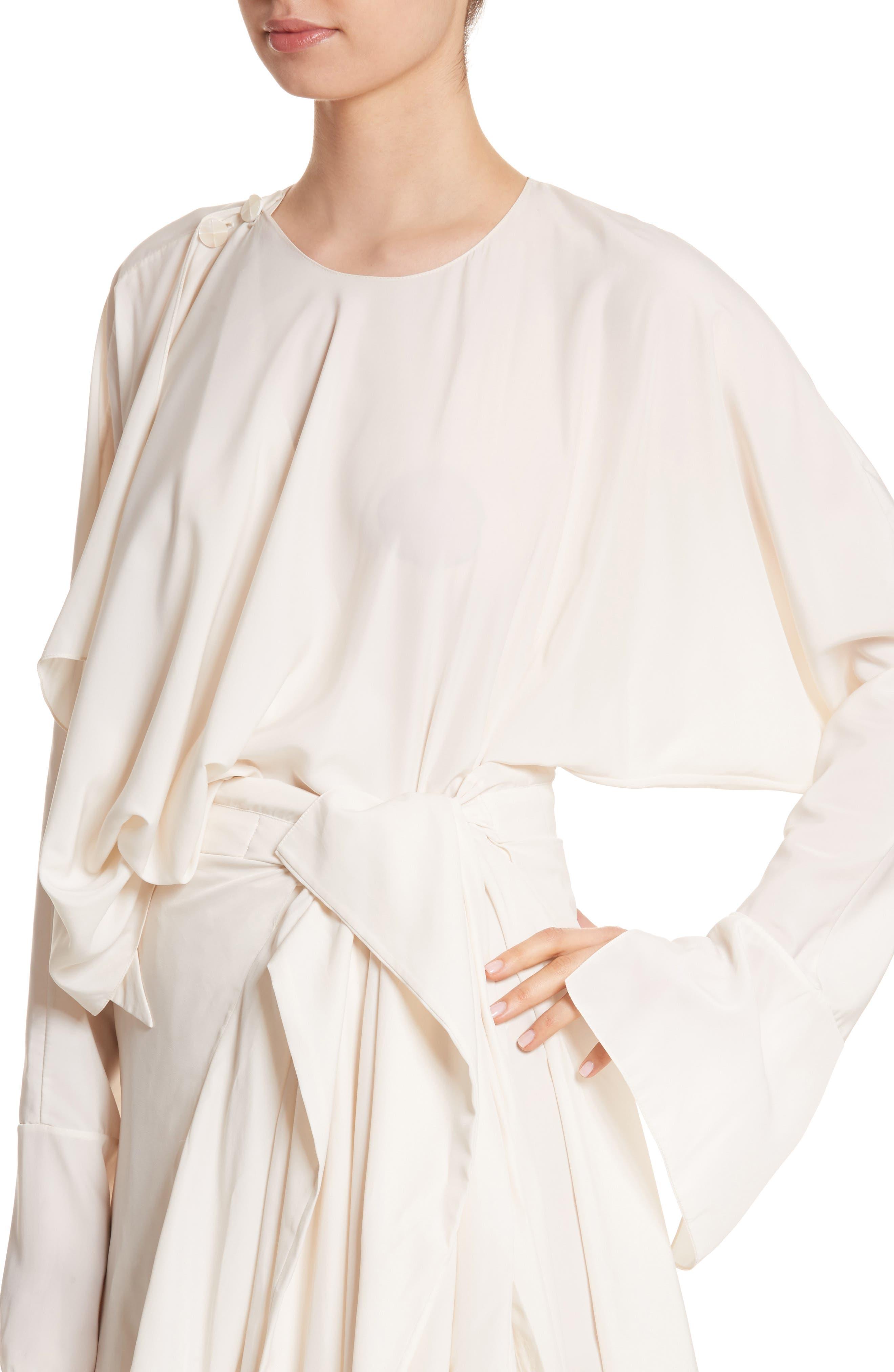 Asymmetrical Draped Dress,                             Alternate thumbnail 4, color,                             900