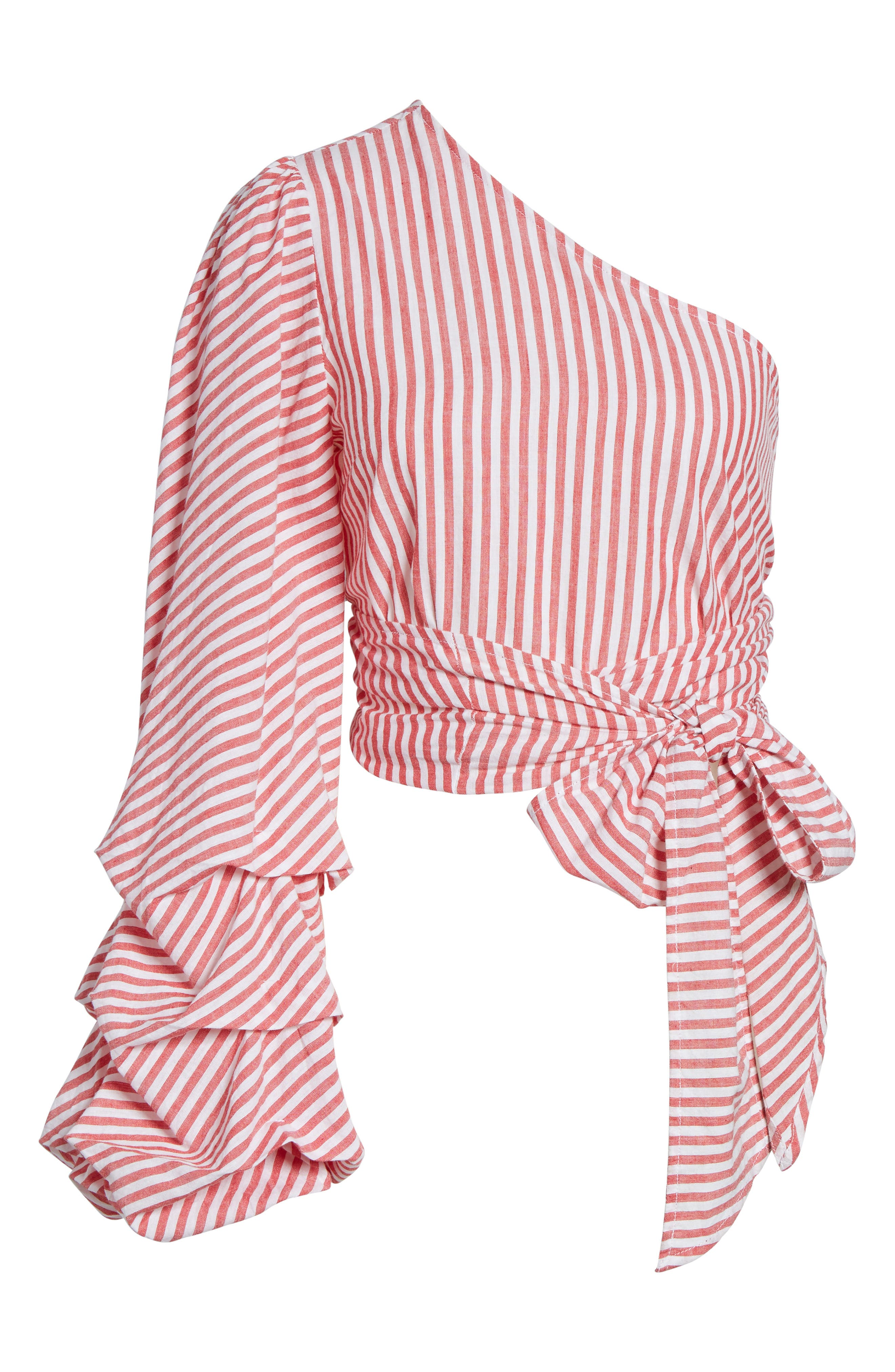 L'Academie Reckless One-Shoulder Wrap Blouse,                             Alternate thumbnail 6, color,                             600