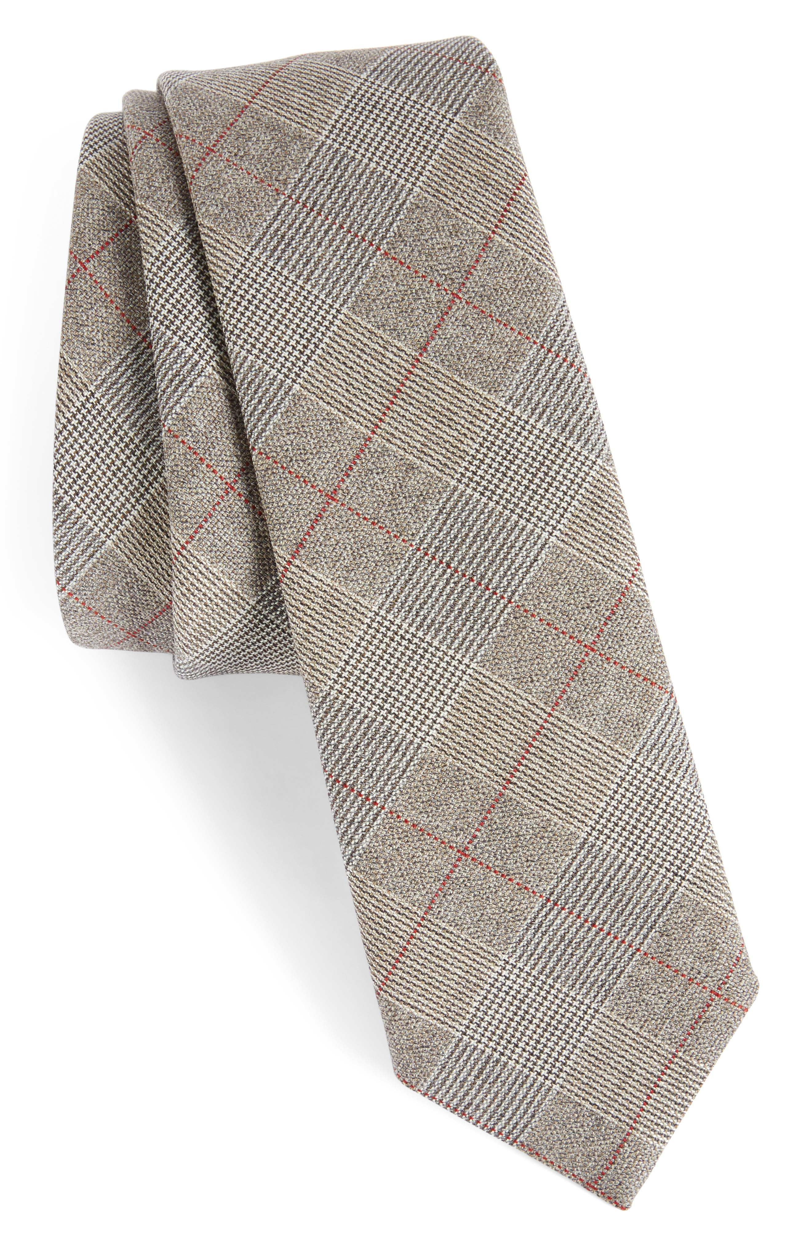 Glen Plaid Wool Skinny Tie,                         Main,                         color,