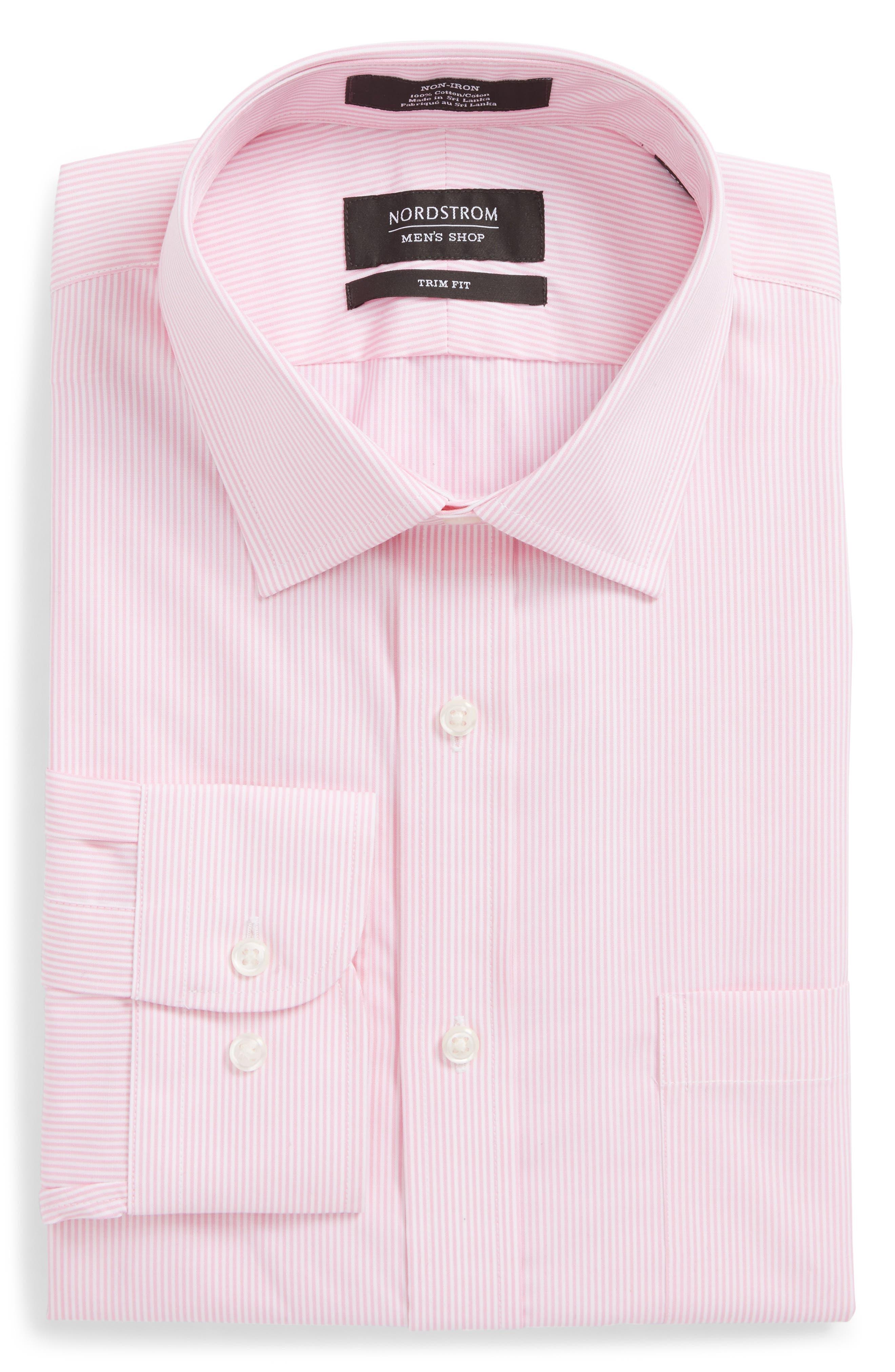 Trim Fit Non-Iron Stripe Dress Shirt,                             Alternate thumbnail 30, color,