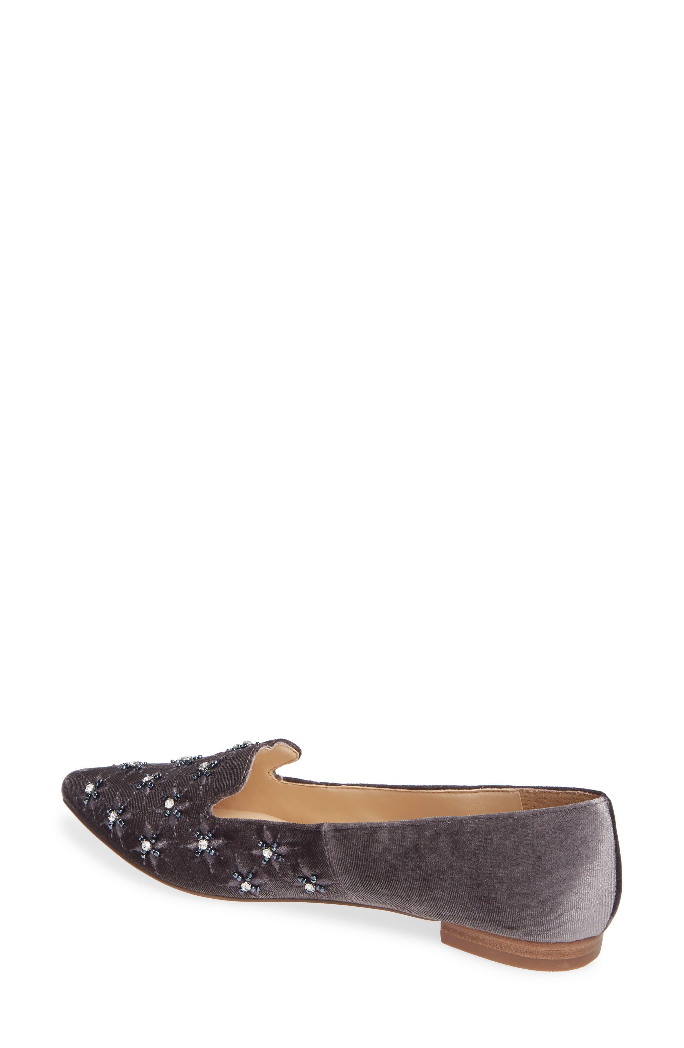 Letticah Crystal Embellished Loafer,                             Alternate thumbnail 2, color,                             SILVER ASH VELVET