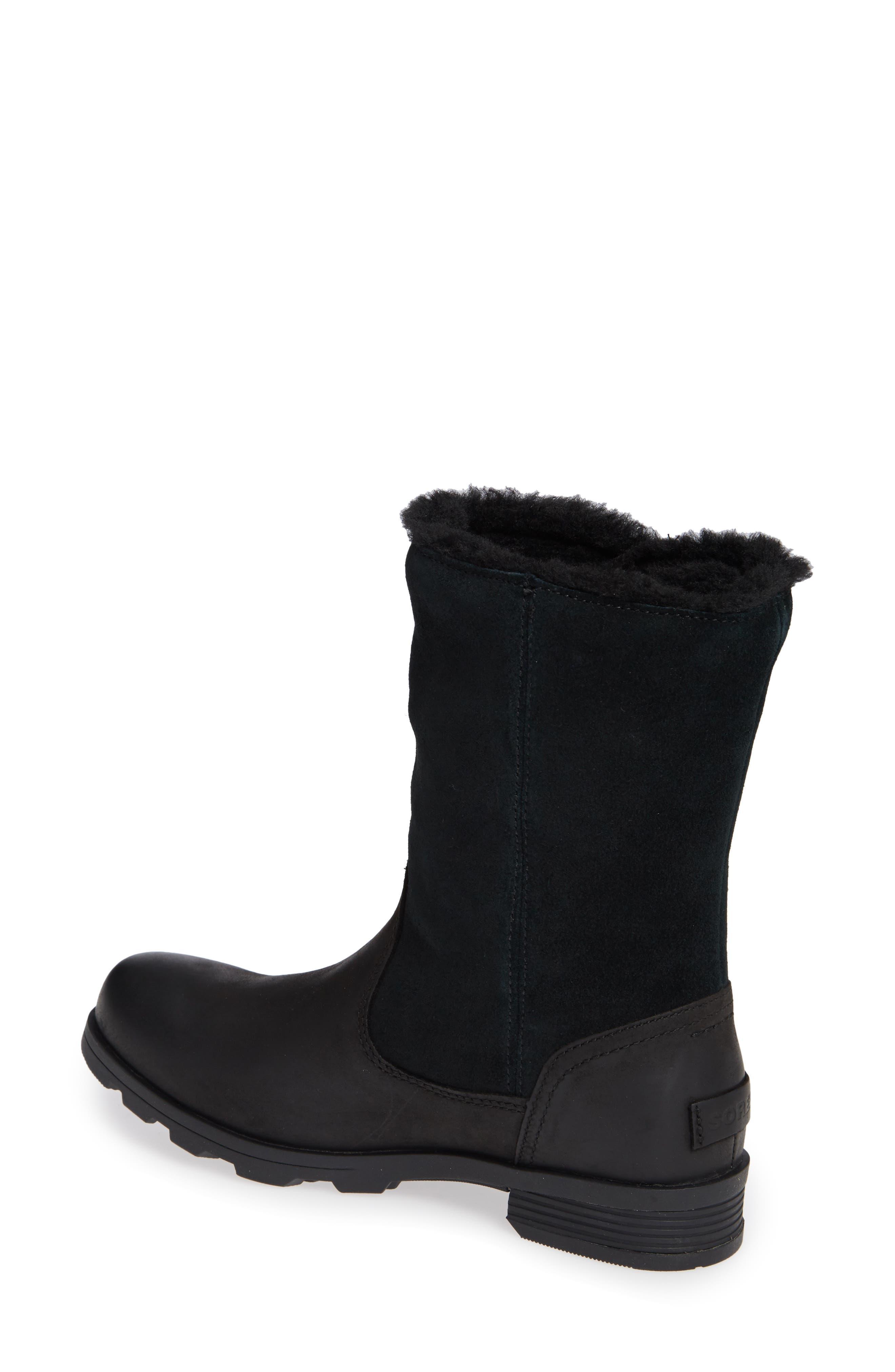 Emelie Waterproof Faux Fur Lined Boot,                             Alternate thumbnail 2, color,                             BLACK