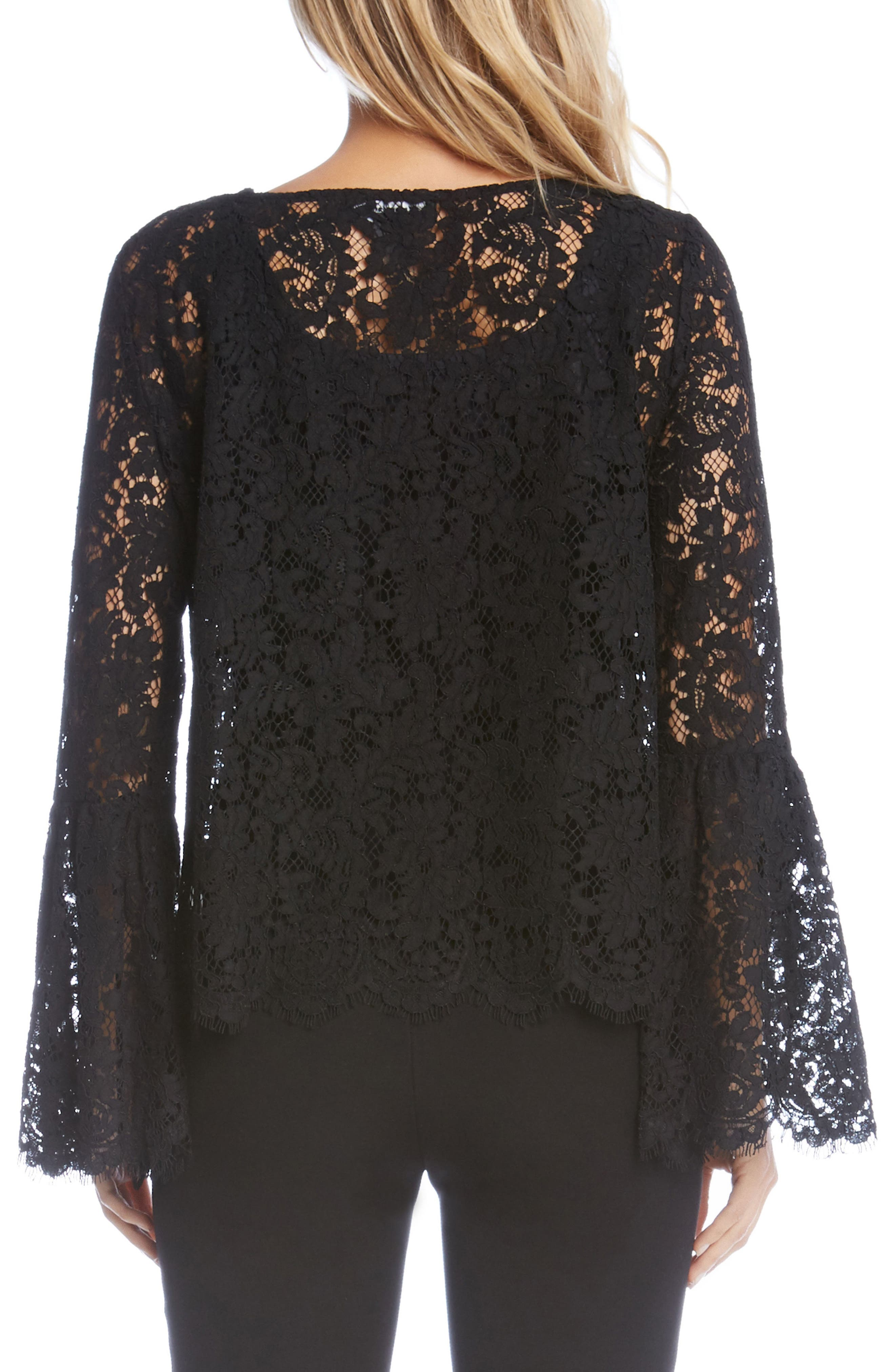 Lace Bell Sleeve Top,                             Alternate thumbnail 2, color,                             001