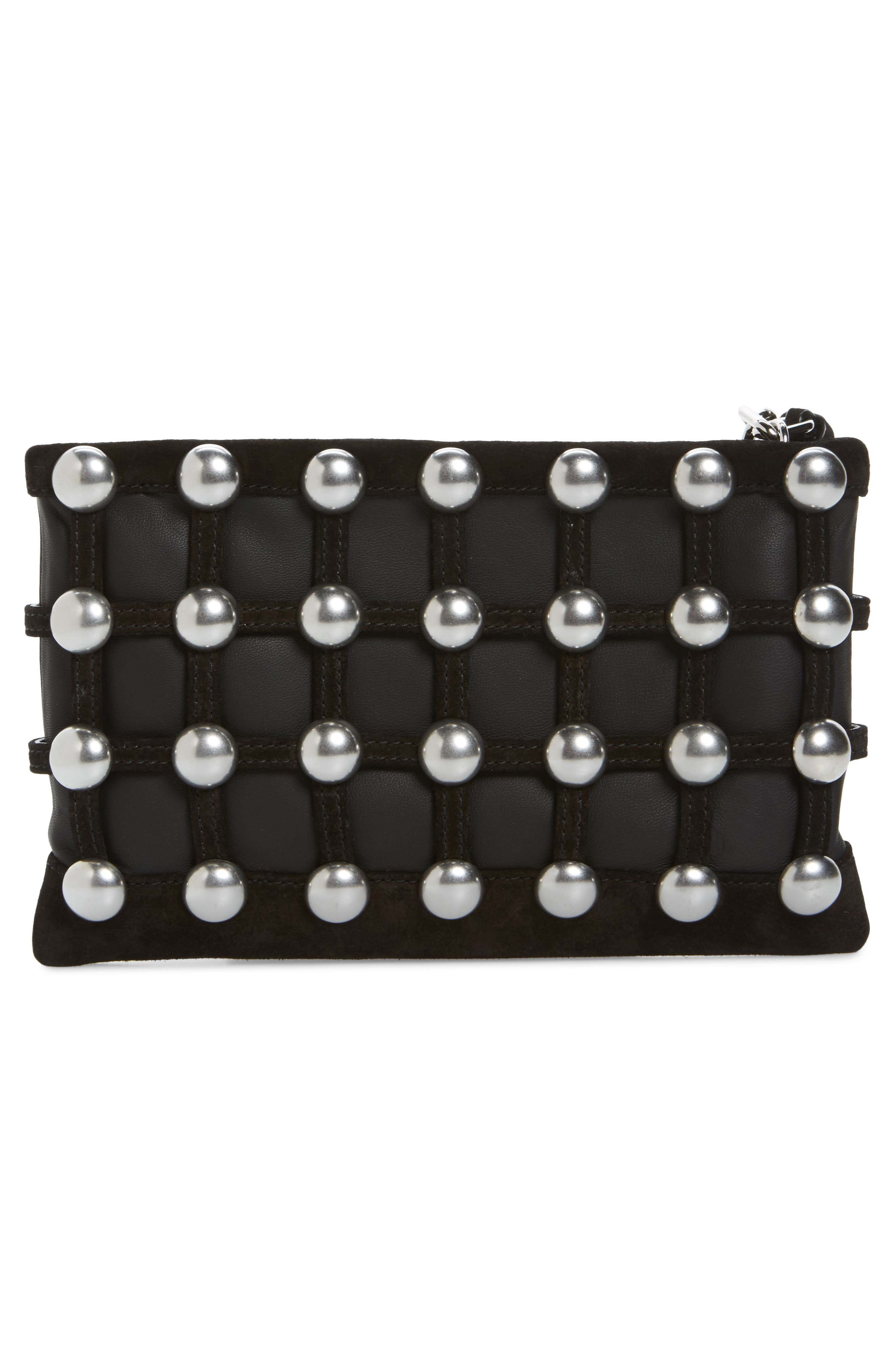 Roxy Studded Cage Leather Wristlet,                             Alternate thumbnail 3, color,