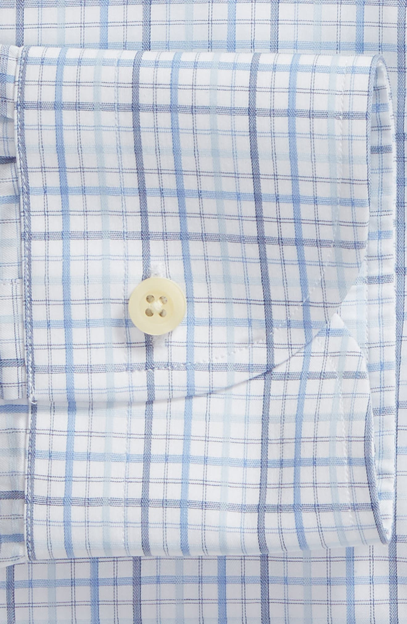 Drazin Trim Fit Check Dress Shirt,                             Alternate thumbnail 6, color,                             BLUE