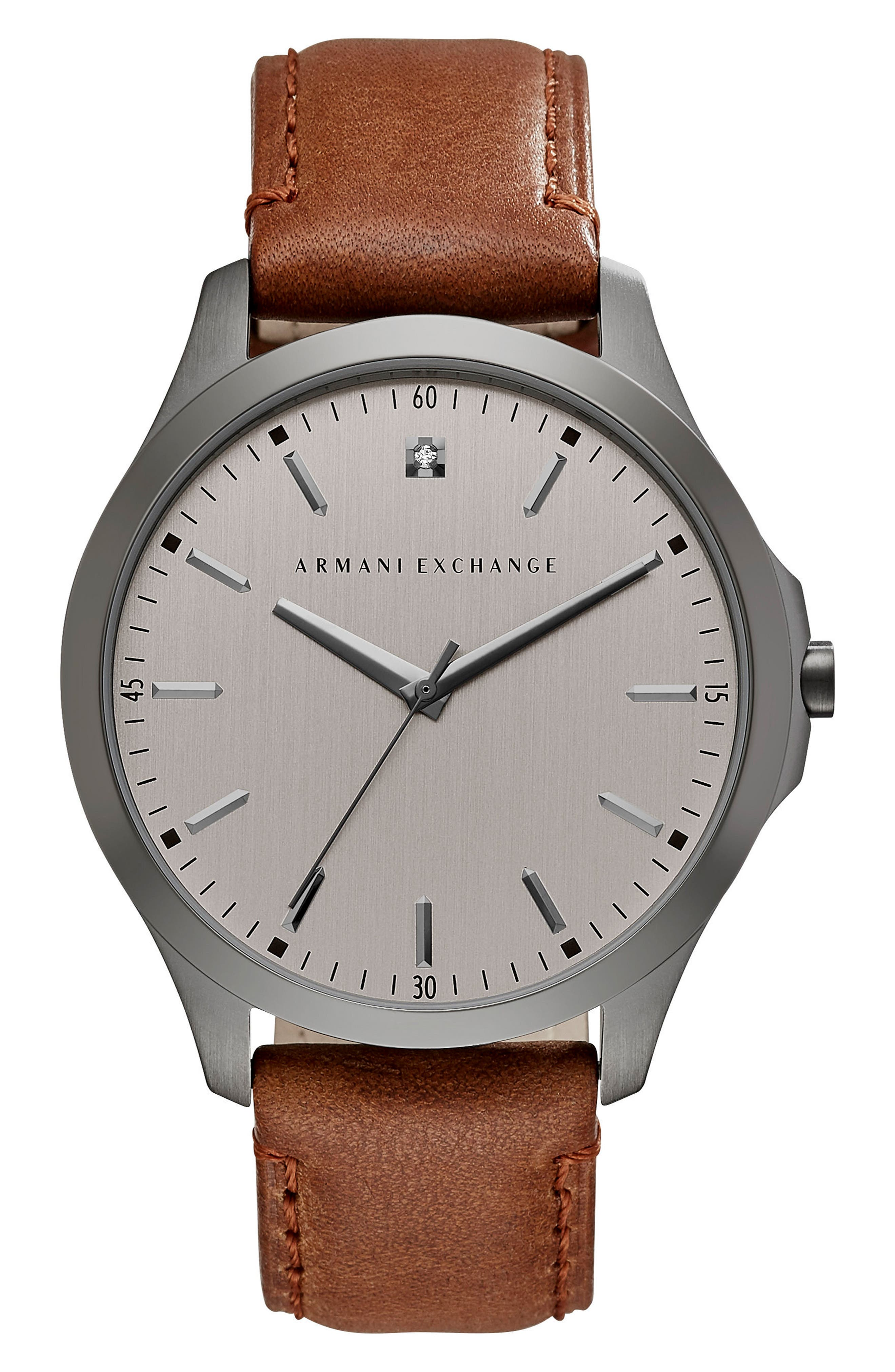 Diamond Accent Leather Strap Watch, 46mm,                             Main thumbnail 1, color,                             201