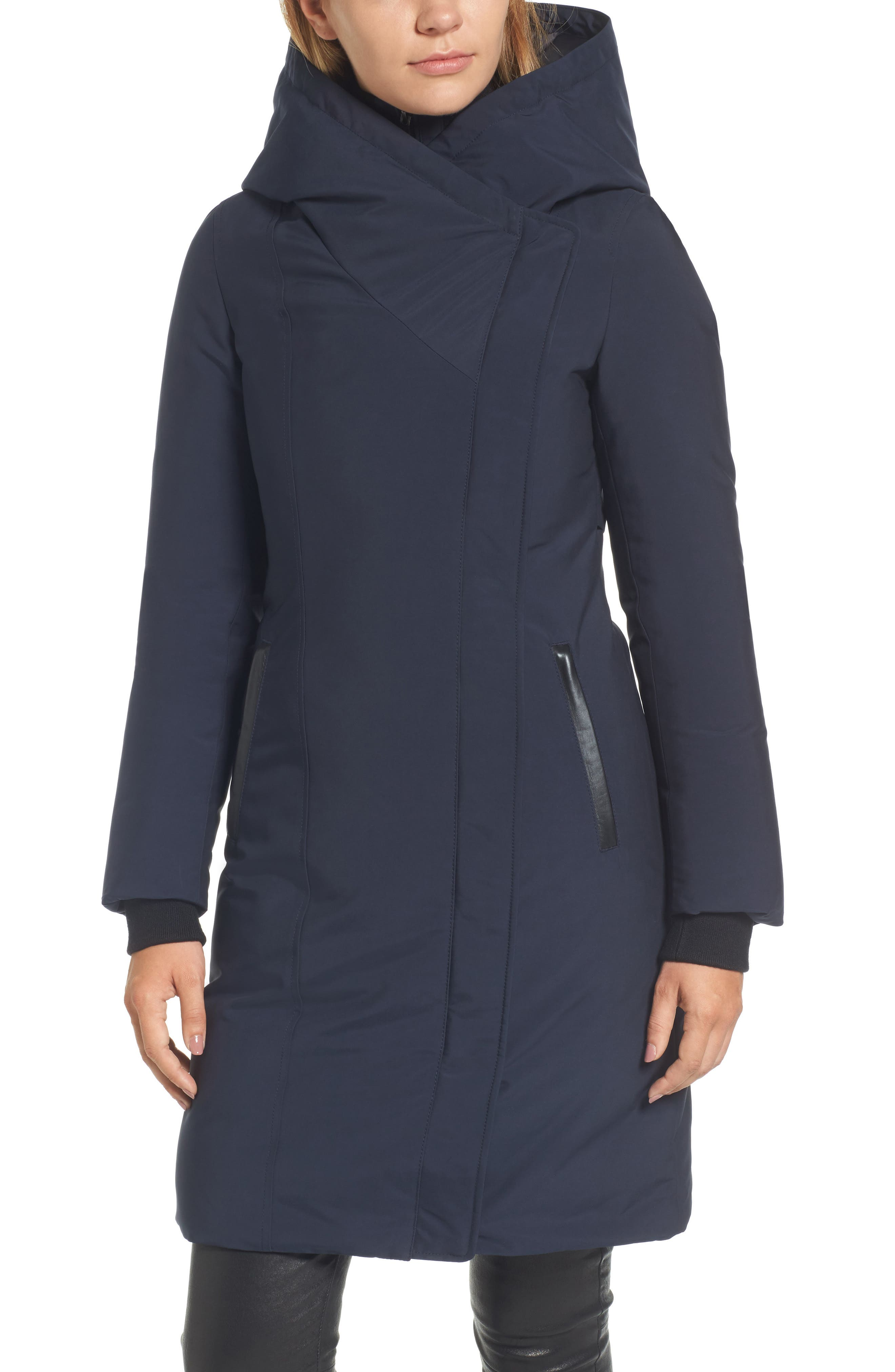 Hooded Asymmetrical Down Coat with Inset Bib,                             Alternate thumbnail 8, color,