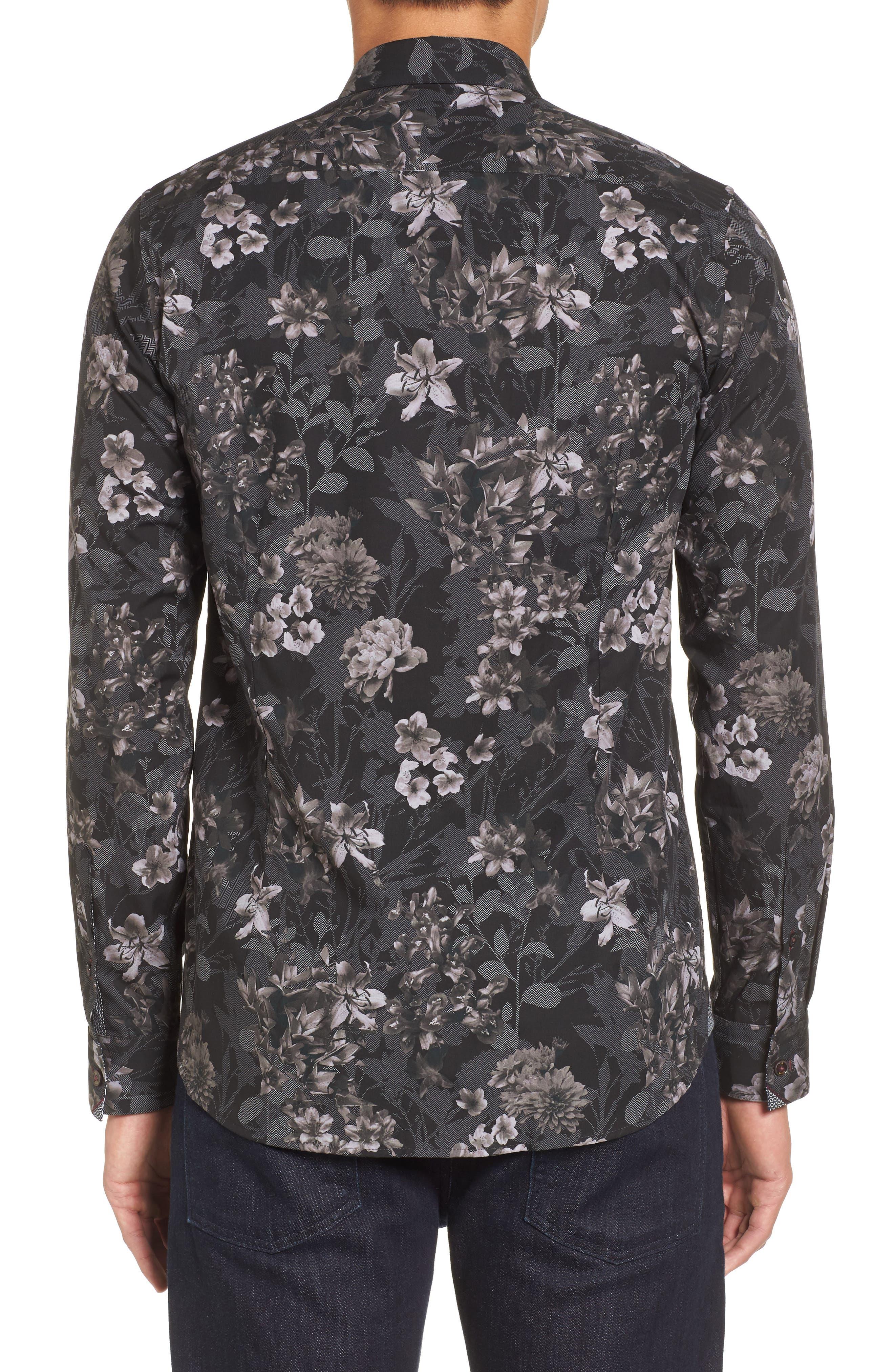 Ted Baker Konkord Slim Fit Floral Print Sport Shirt,                             Alternate thumbnail 2, color,                             001