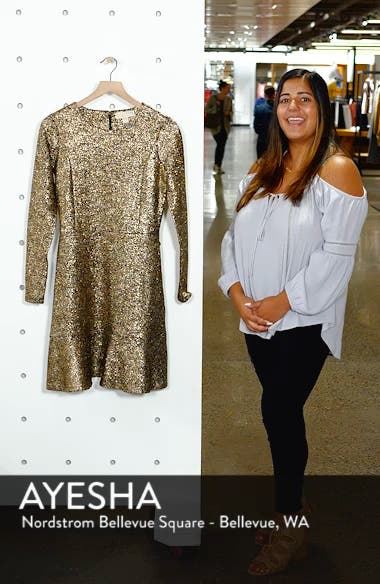 Foil Knit Flounce Dress, sales video thumbnail