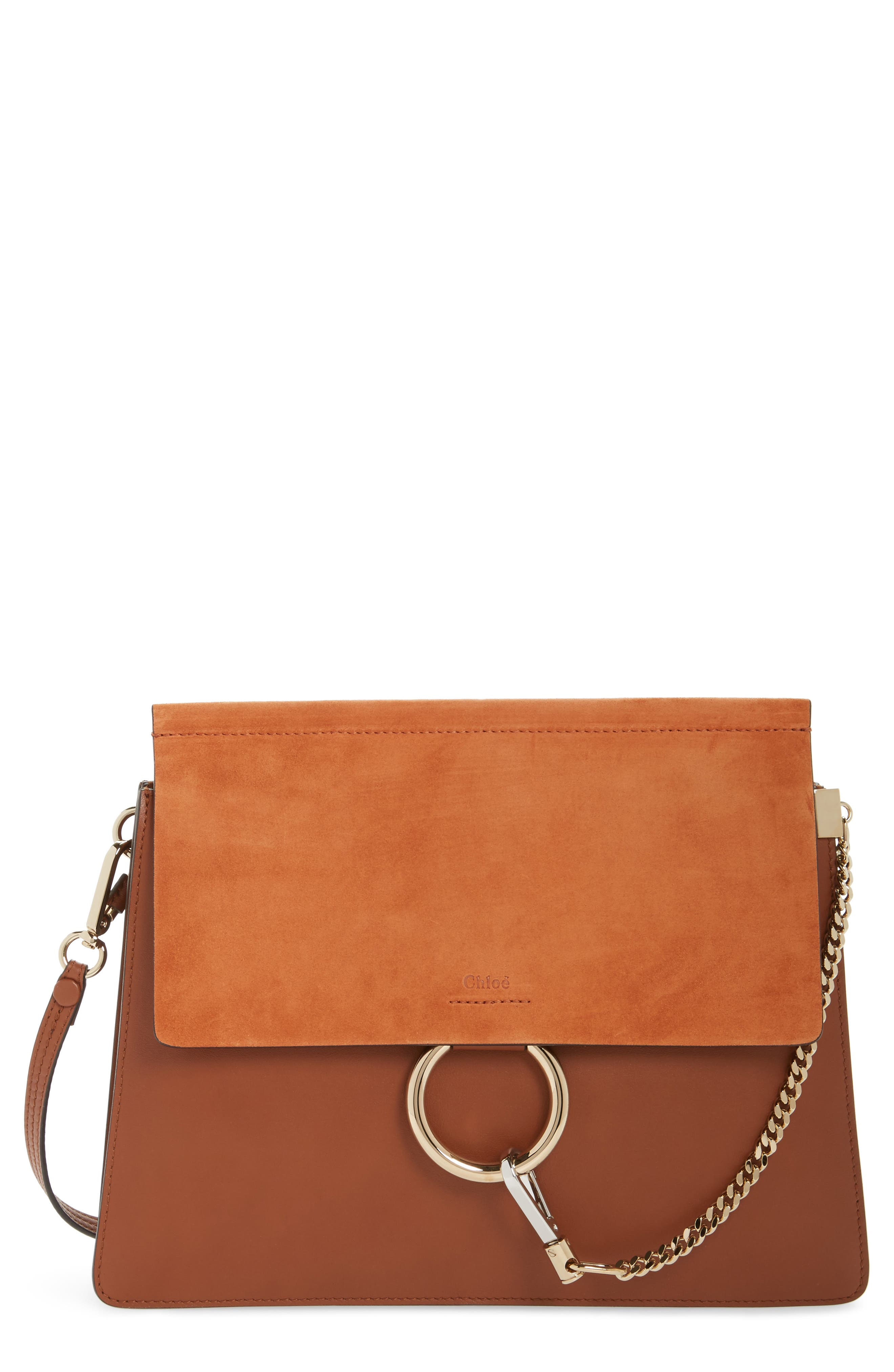 Faye Suede & Leather Shoulder Bag,                             Main thumbnail 1, color,                             CLASSIC TOBACCO