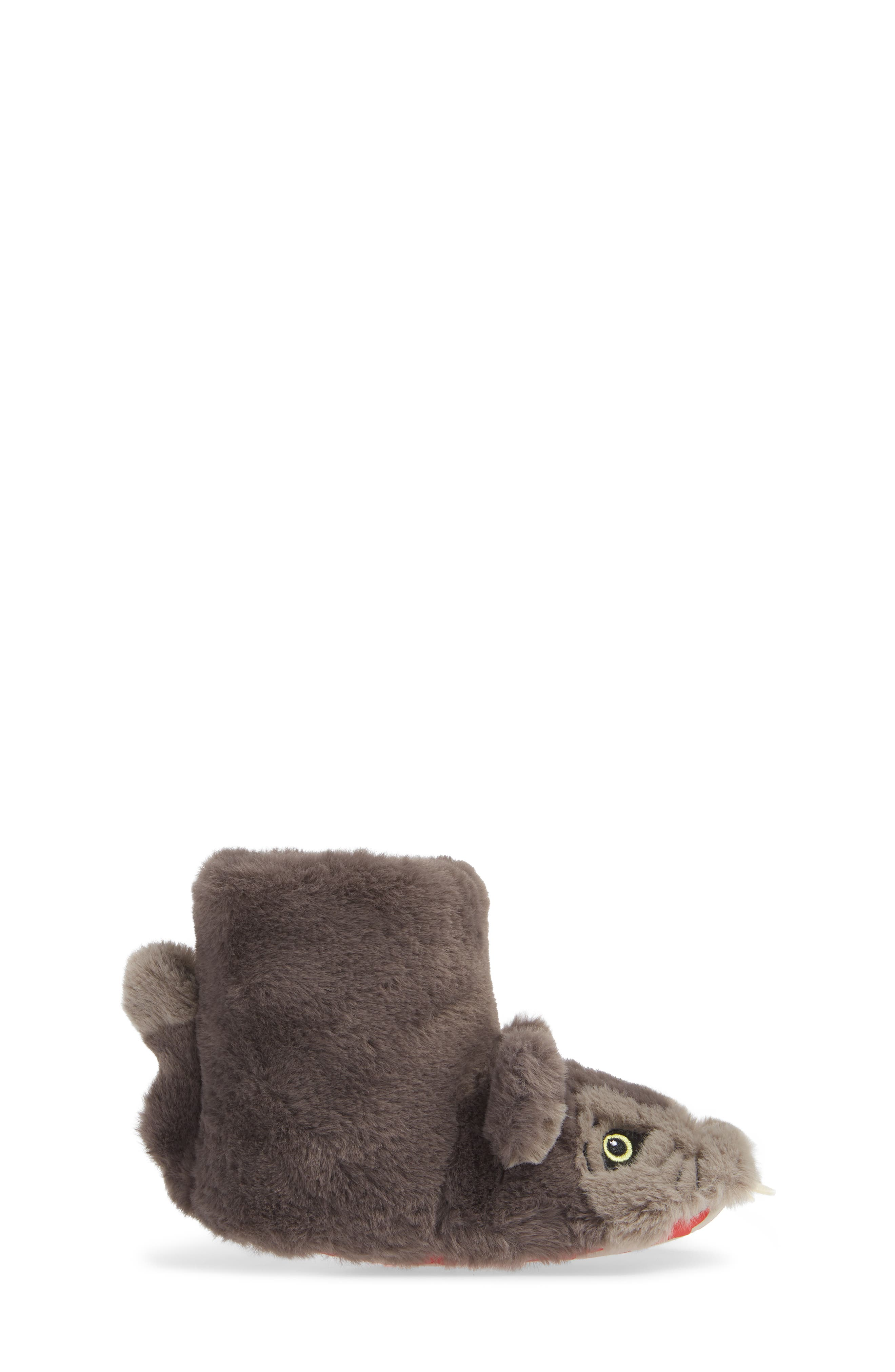 Mini Boden Wolf Faux Fur Slipper Booties,                             Alternate thumbnail 3, color,                             MID GREY