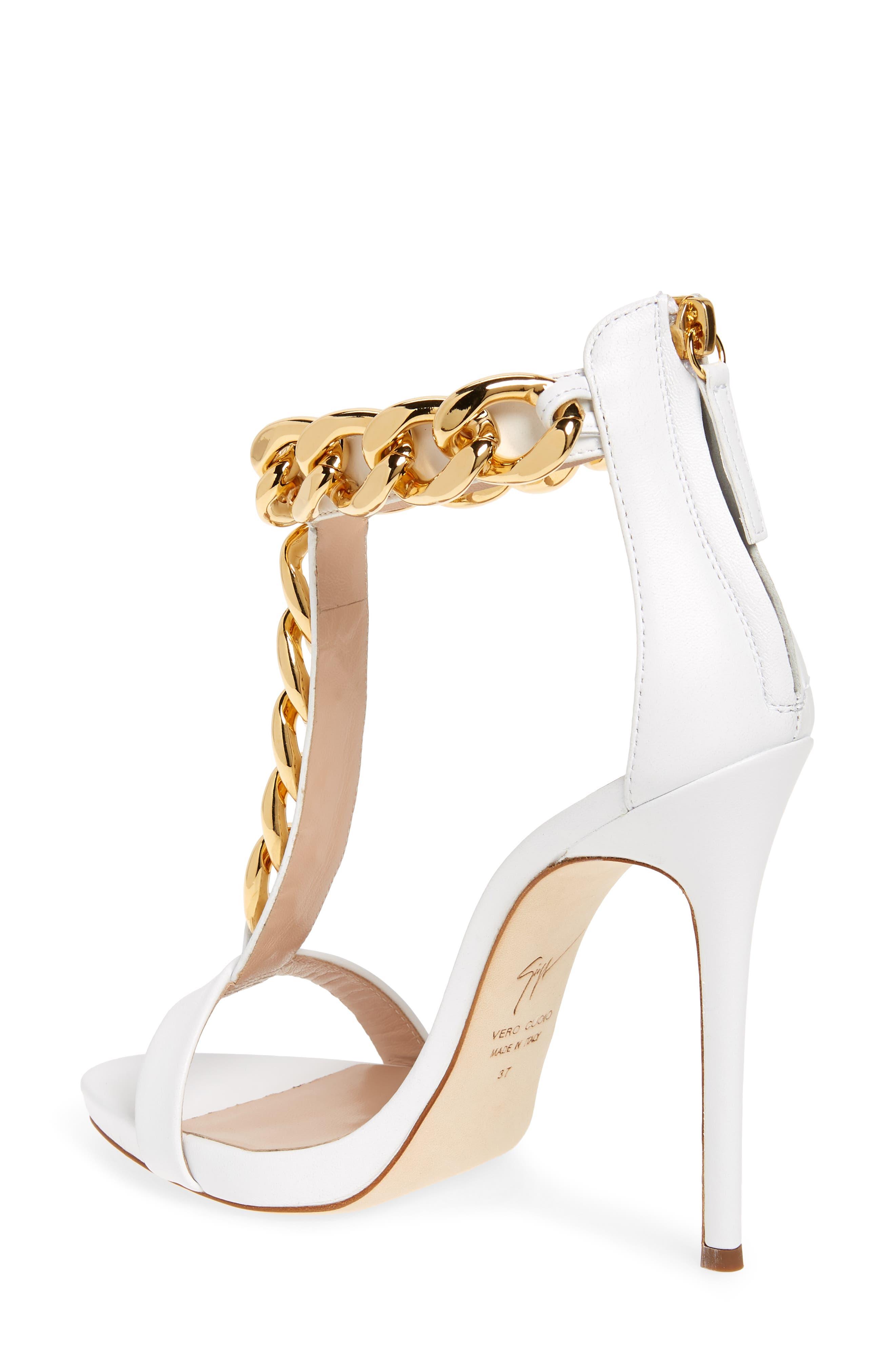 Rita Ora Curb Chain T-Strap Sandal,                             Alternate thumbnail 2, color,                             WHITE