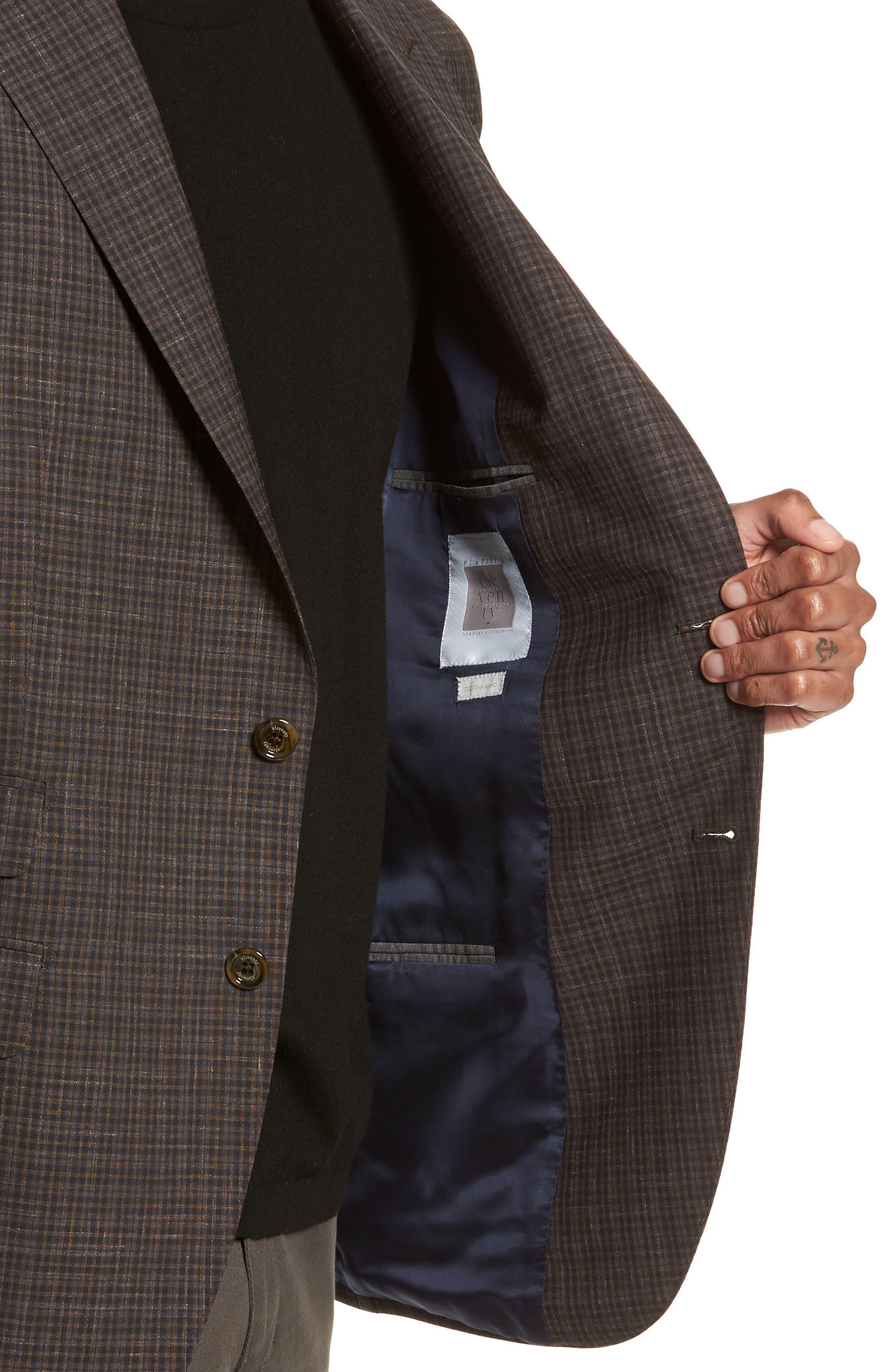Trim Fit Check Wool & Linen Sport Coat,                             Alternate thumbnail 4, color,                             201