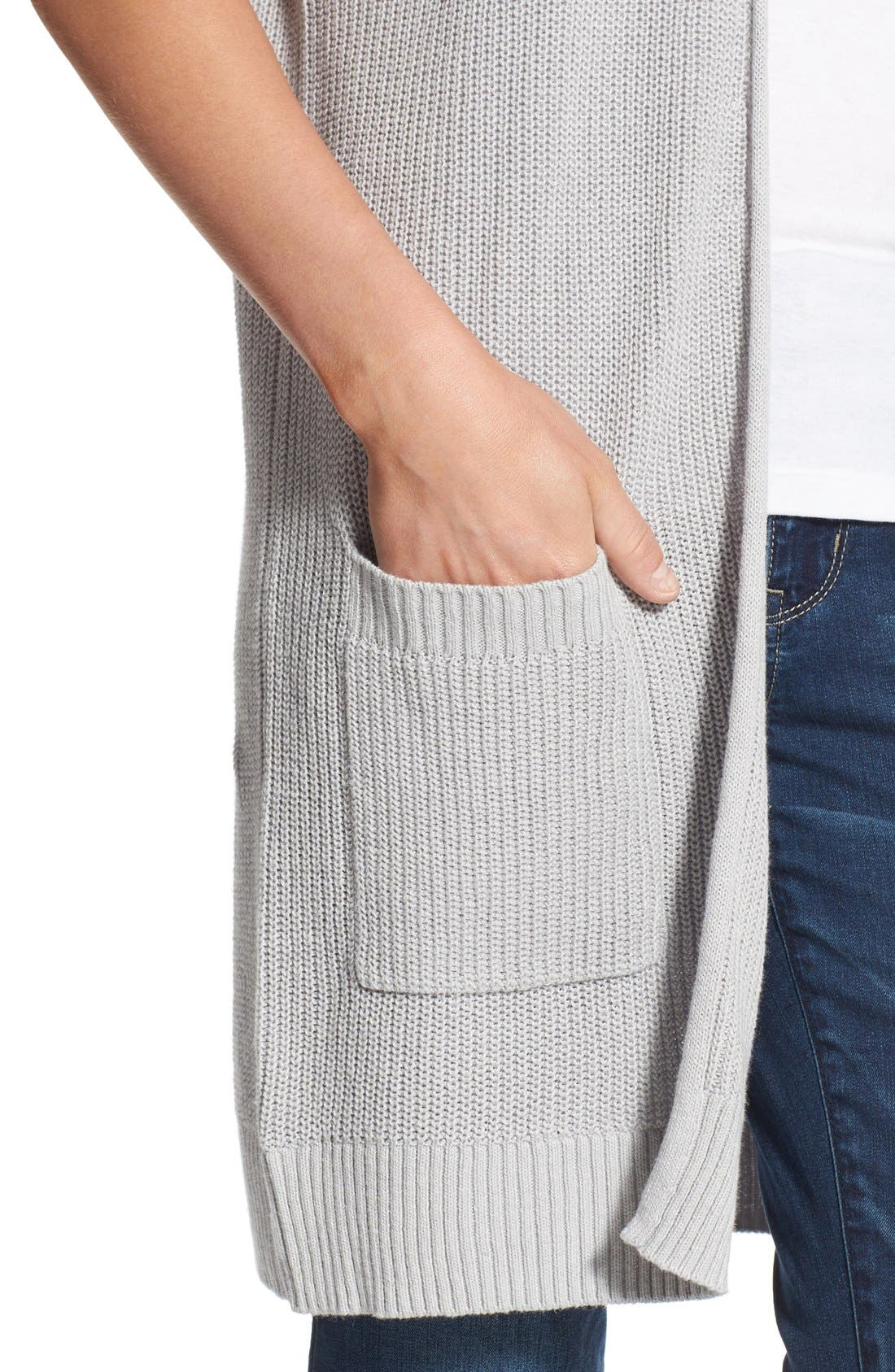 Shaker Stitch Open Front Cardigan,                             Alternate thumbnail 10, color,