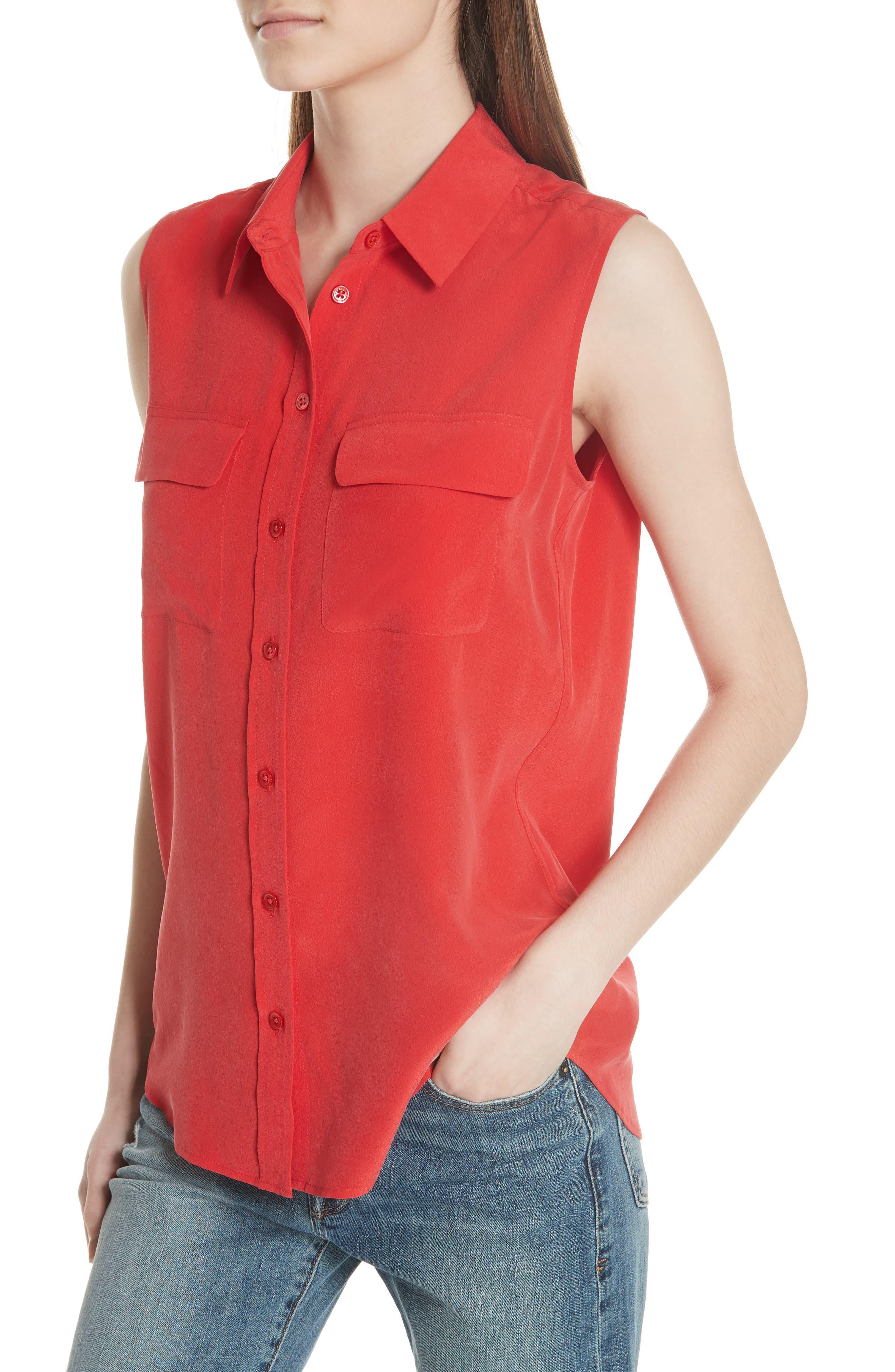 'Slim Signature' Sleeveless Silk Shirt,                             Alternate thumbnail 145, color,