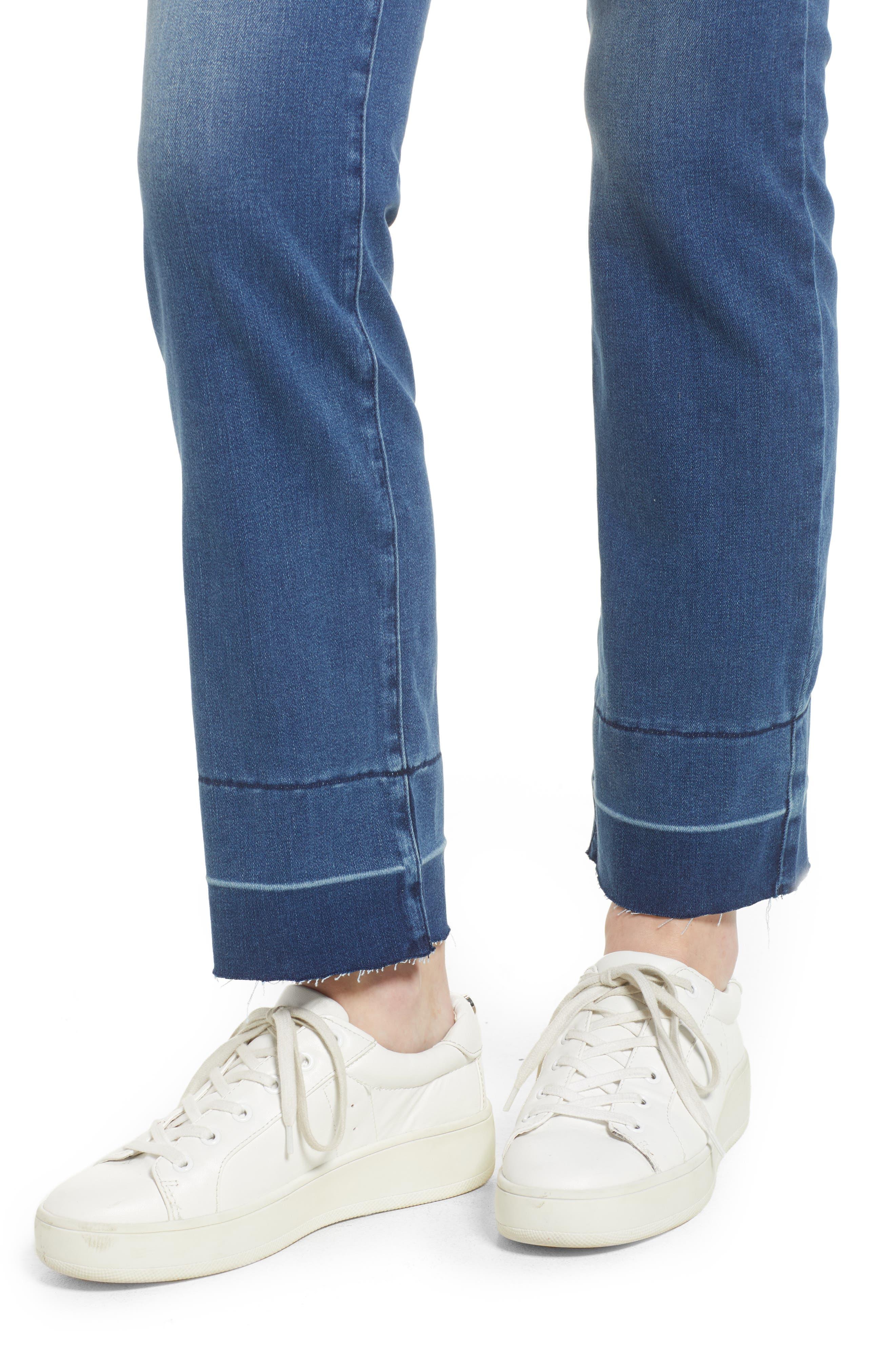 Marilyn Release Hem Stretch Straight Leg Jeans,                             Alternate thumbnail 4, color,                             410