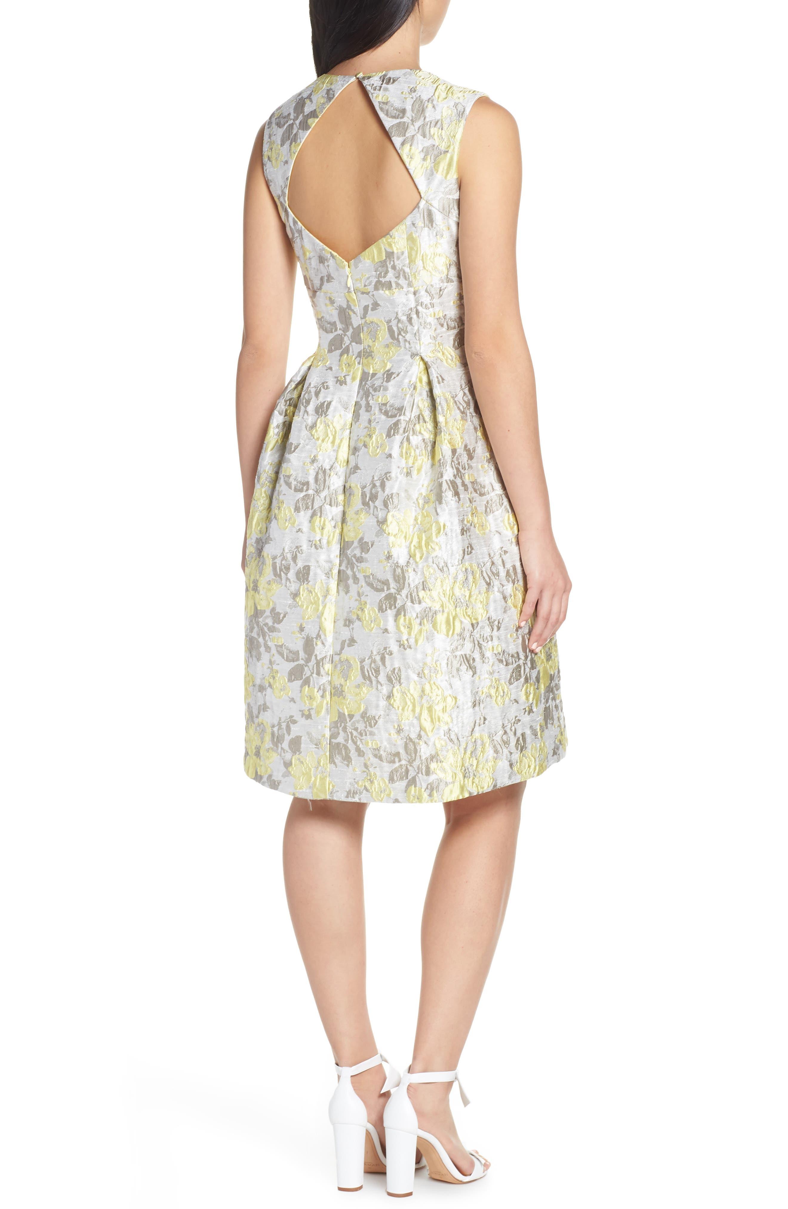ELIZA J,                             Floral Jacquard Fit & Flare Dress,                             Alternate thumbnail 2, color,                             SILVER COMBO