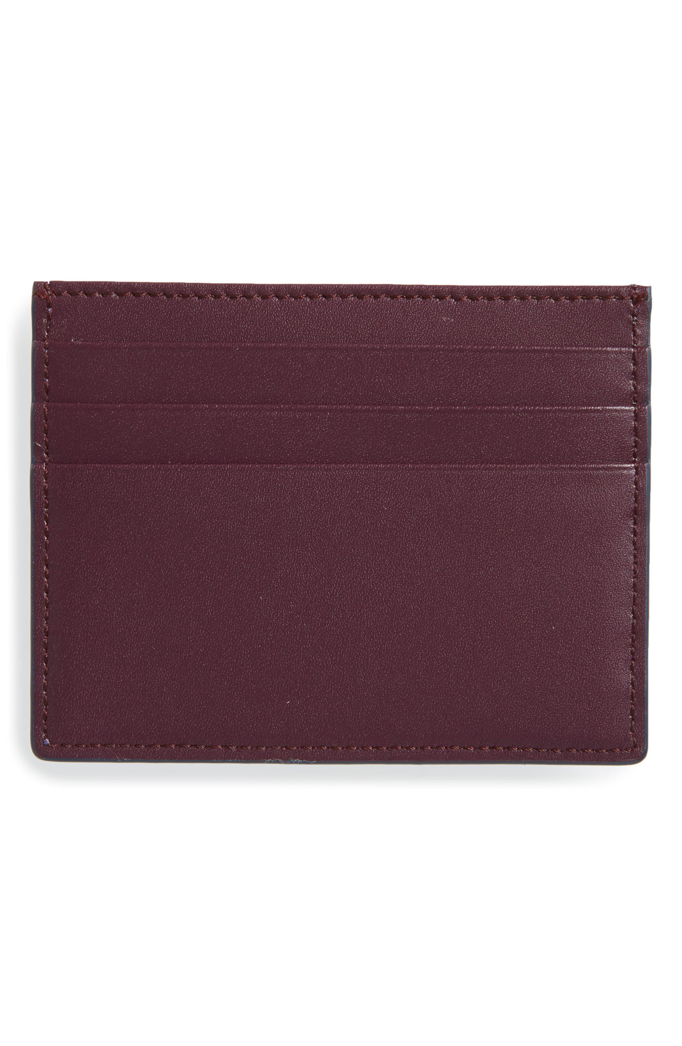 Rainbow Stud Leather Card Case,                             Alternate thumbnail 2, color,                             SKY/ MAROON