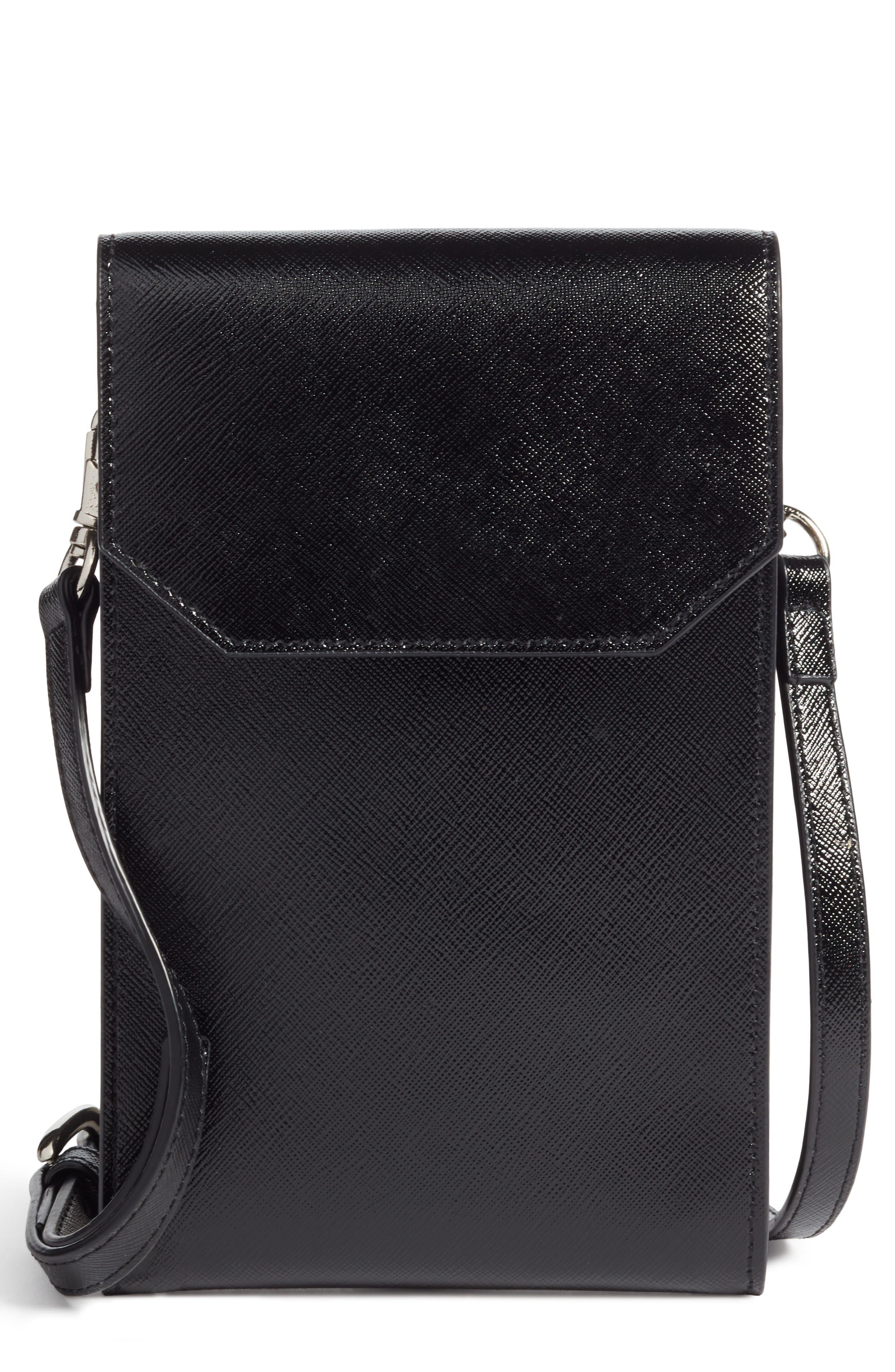 Leather Phone Crossbody Bag,                         Main,                         color, BLACK