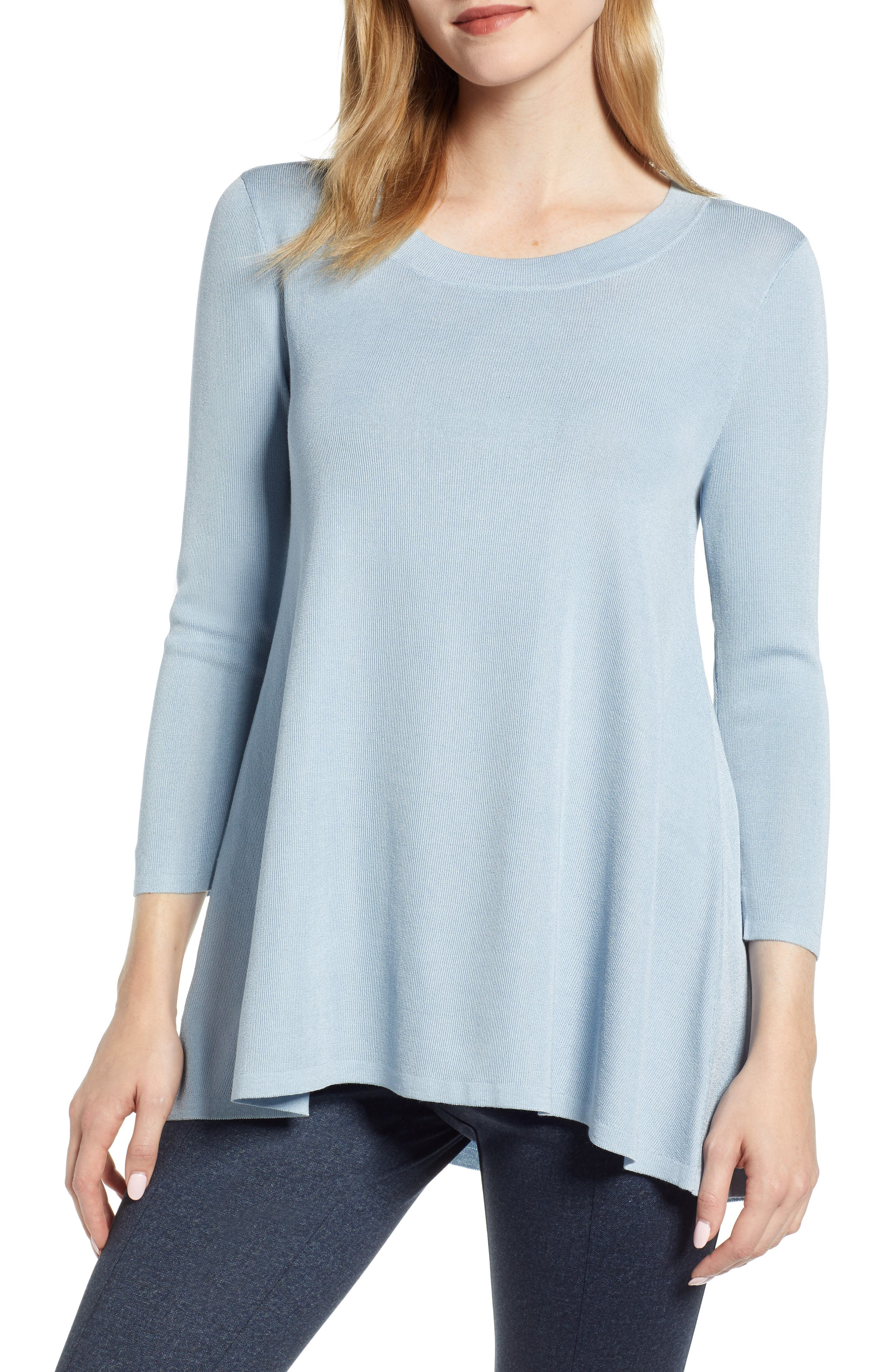 ANNE KLEIN Scoop Neck Knit Top in Rameau