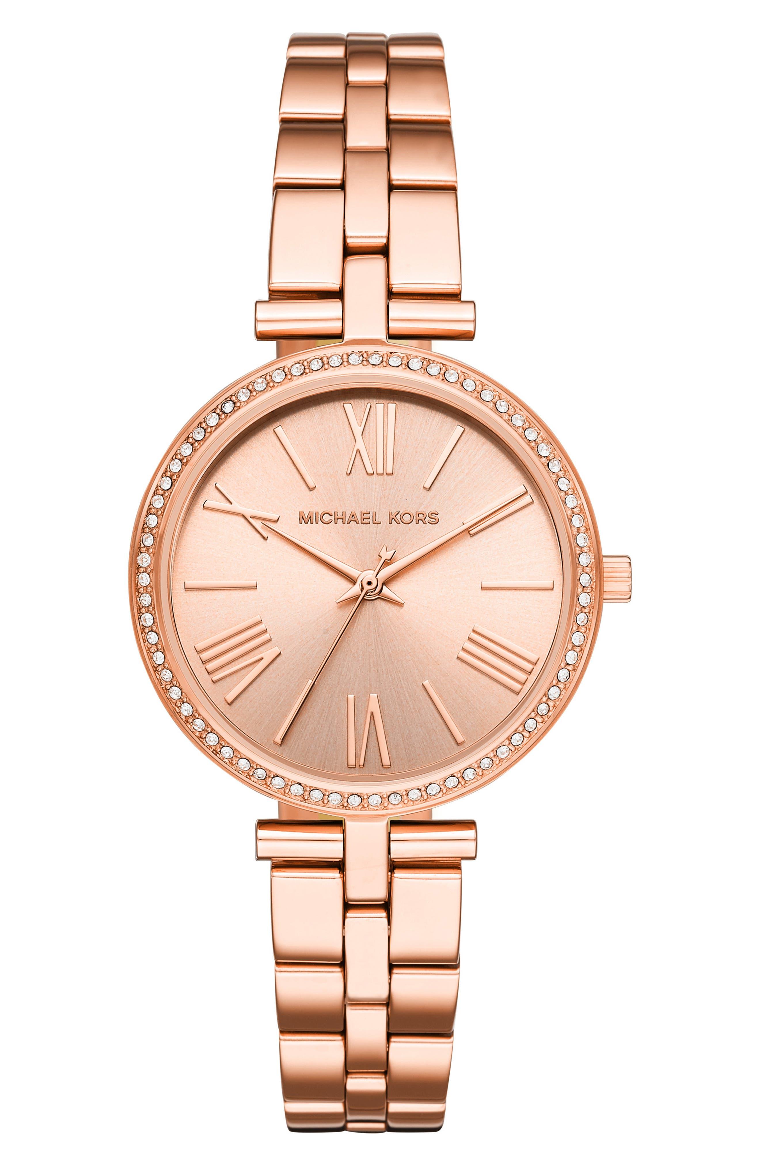 MICHAEL KORS Maci Bracelet Watch, 34mm, Main, color, ROSE GOLD