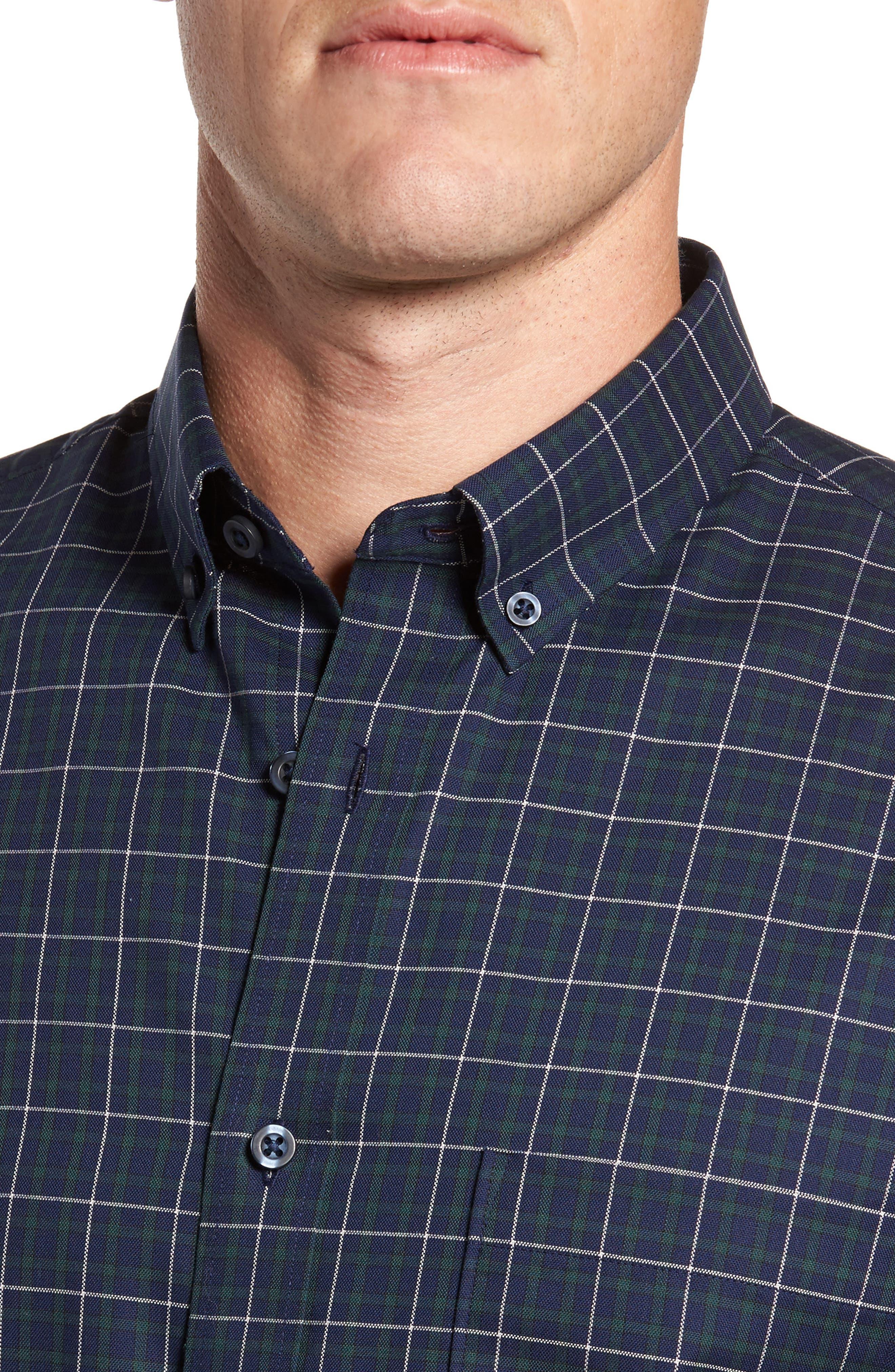 Regular Fit Non-Iron Plaid Sport Shirt,                             Alternate thumbnail 4, color,